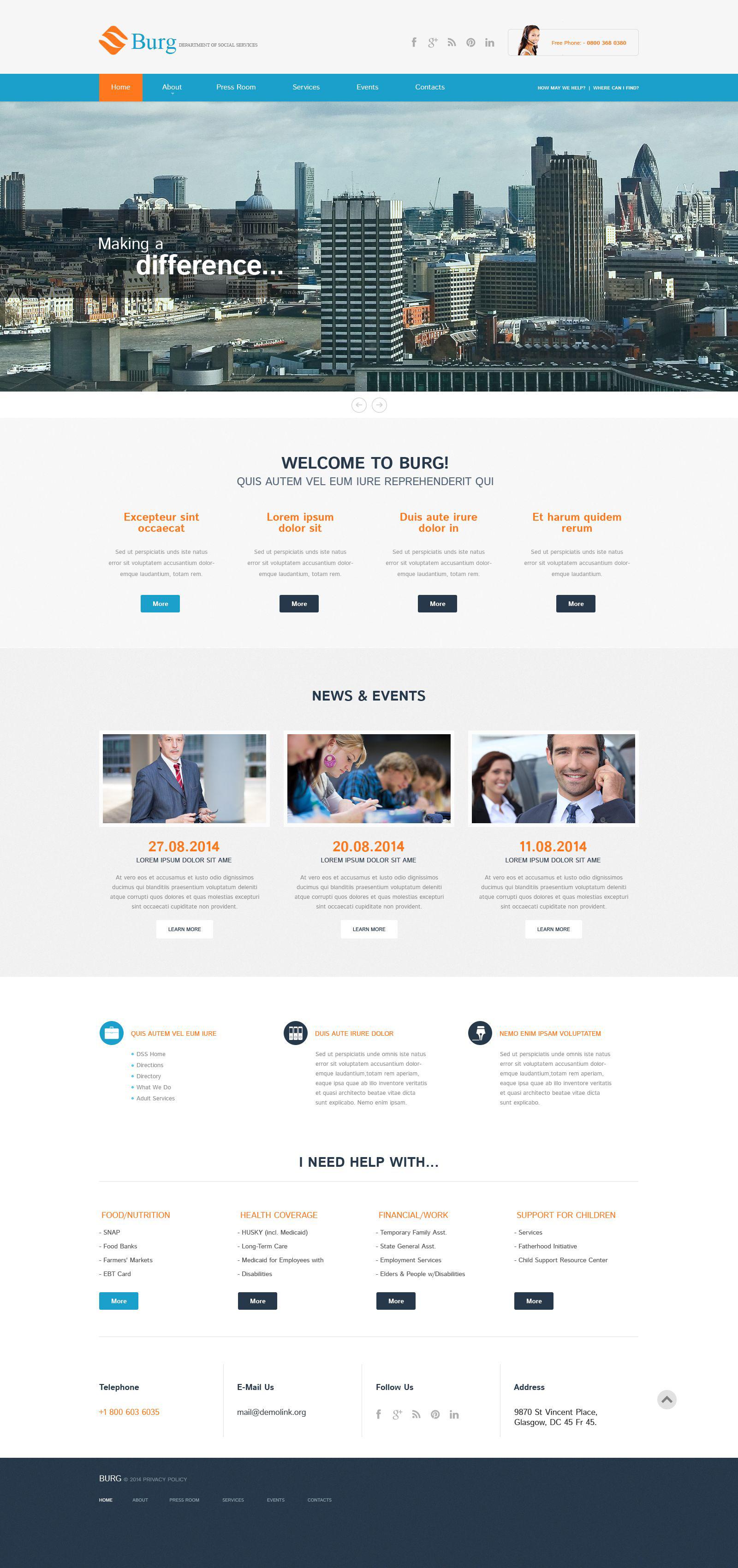 Адаптивный WordPress шаблон №52084 на тему бизнес и услуги - скриншот
