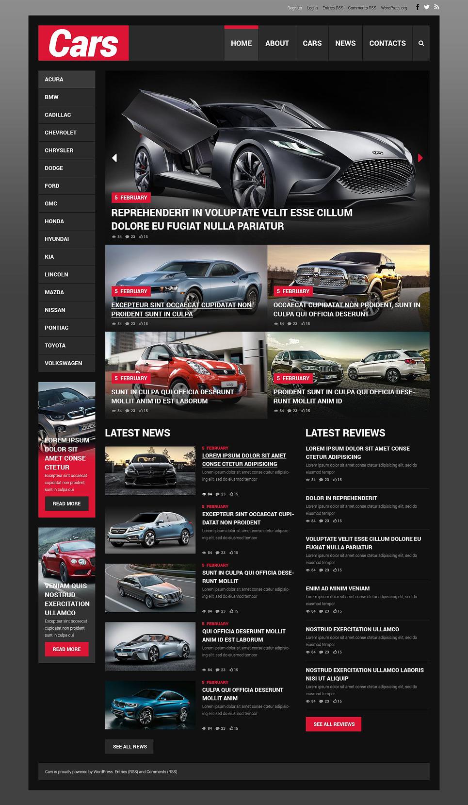 Адаптивный шаблон сайта на тему автомобиль #52085
