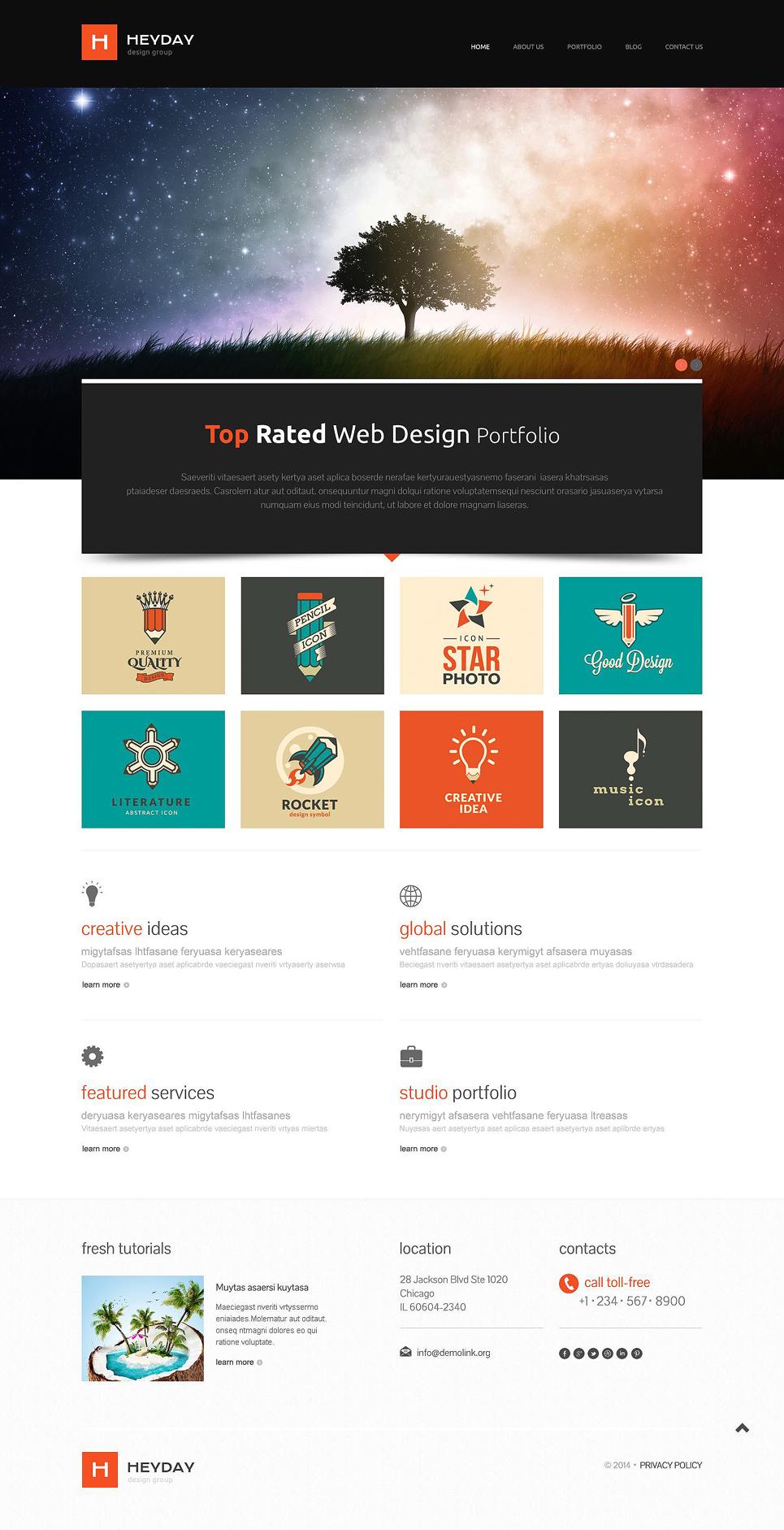Адаптивный шаблон сайта на тему портфолио дизайнера #52087