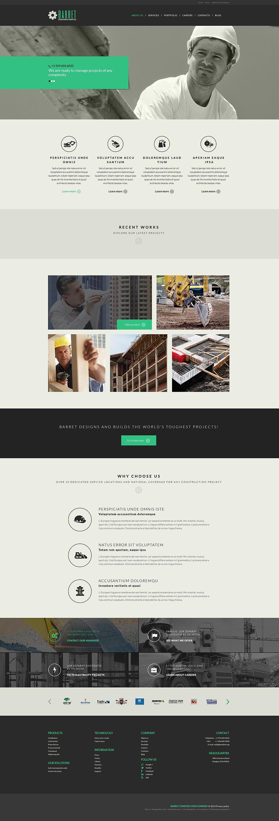 Адаптивный шаблон сайта на тему строительные компании #52088