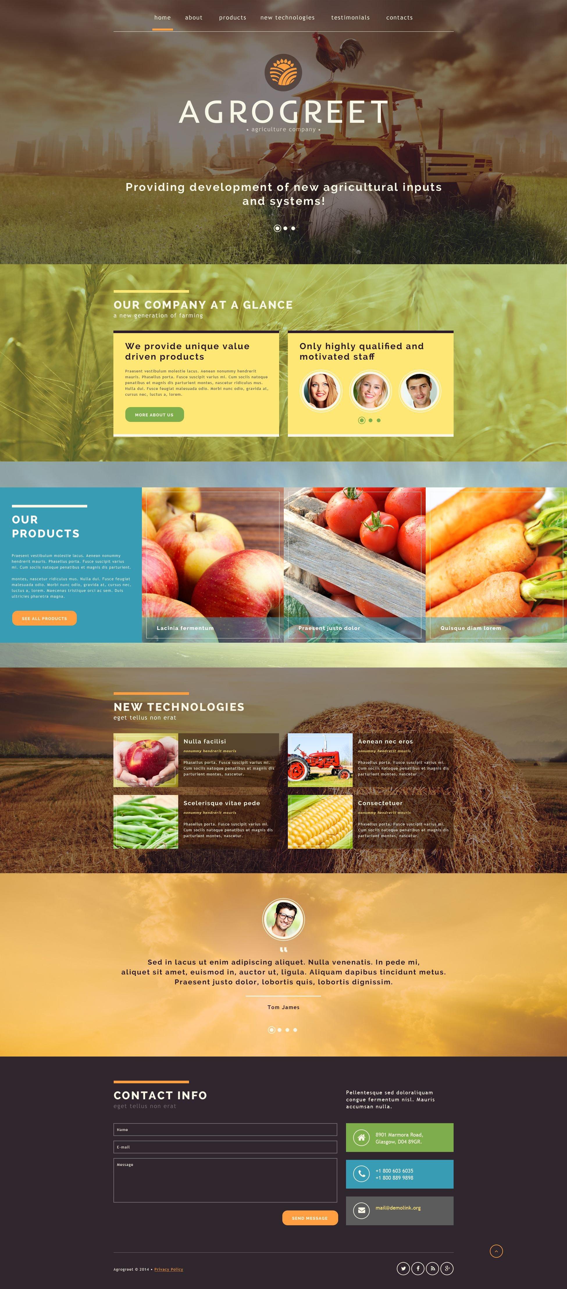 Bootstrap Шаблон сайту на тему agriculture templates №52074