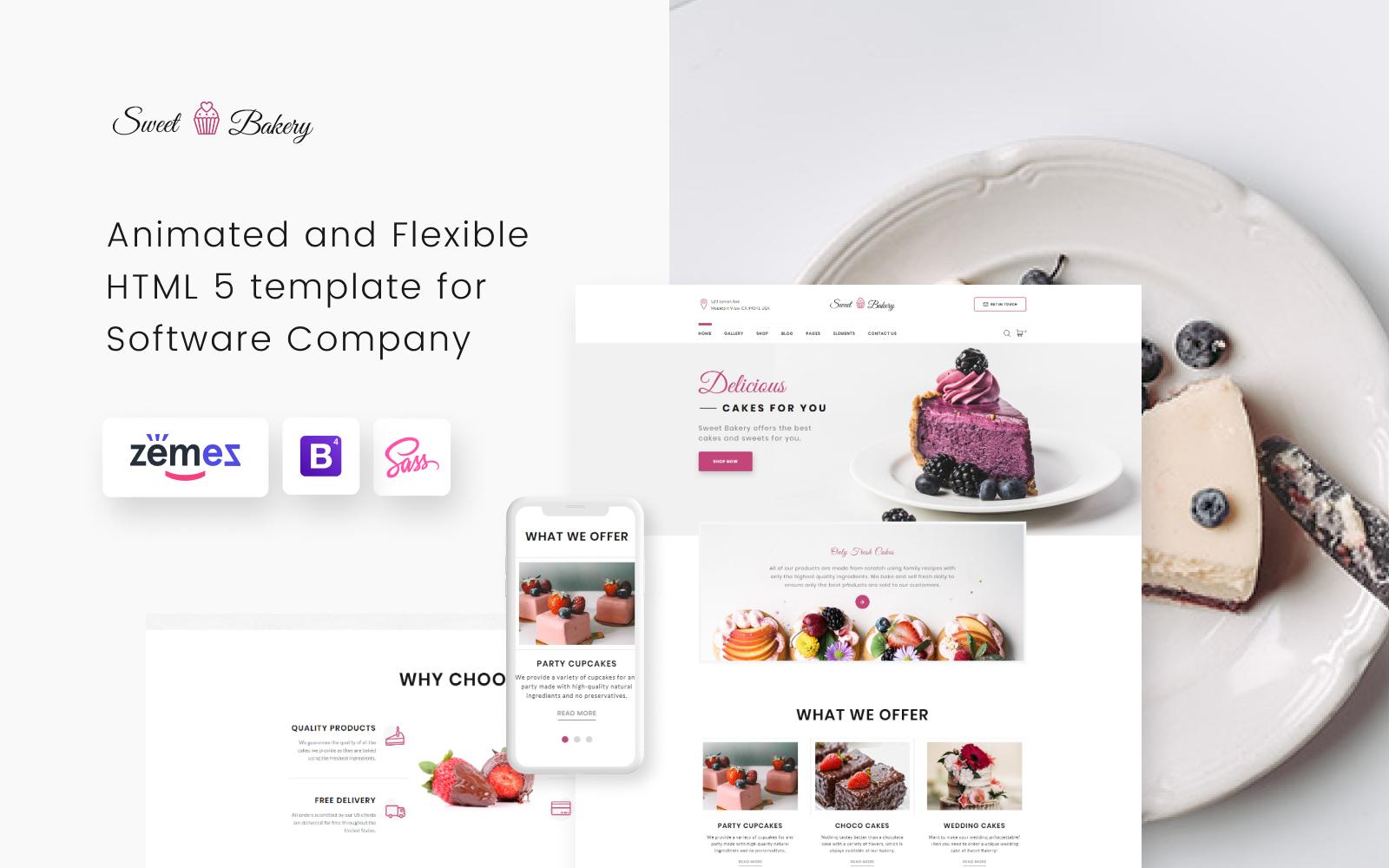Bootstrap Sweet Bakery - Cake Shop Elegant Multipage HTML Weboldal sablon 52072