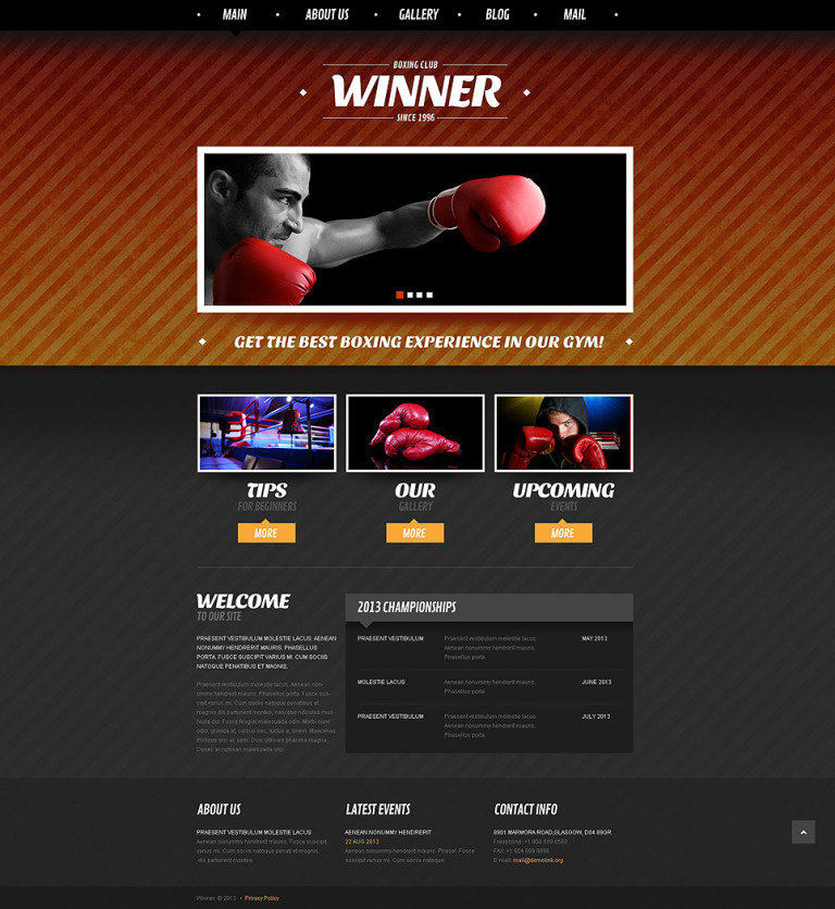 Boxing Responsive Joomla Template New Screenshots BIG