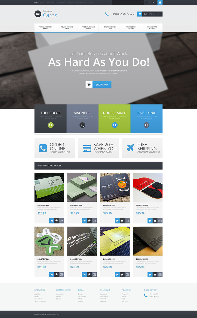 Business Card Provider OpenCart Template New Screenshots BIG