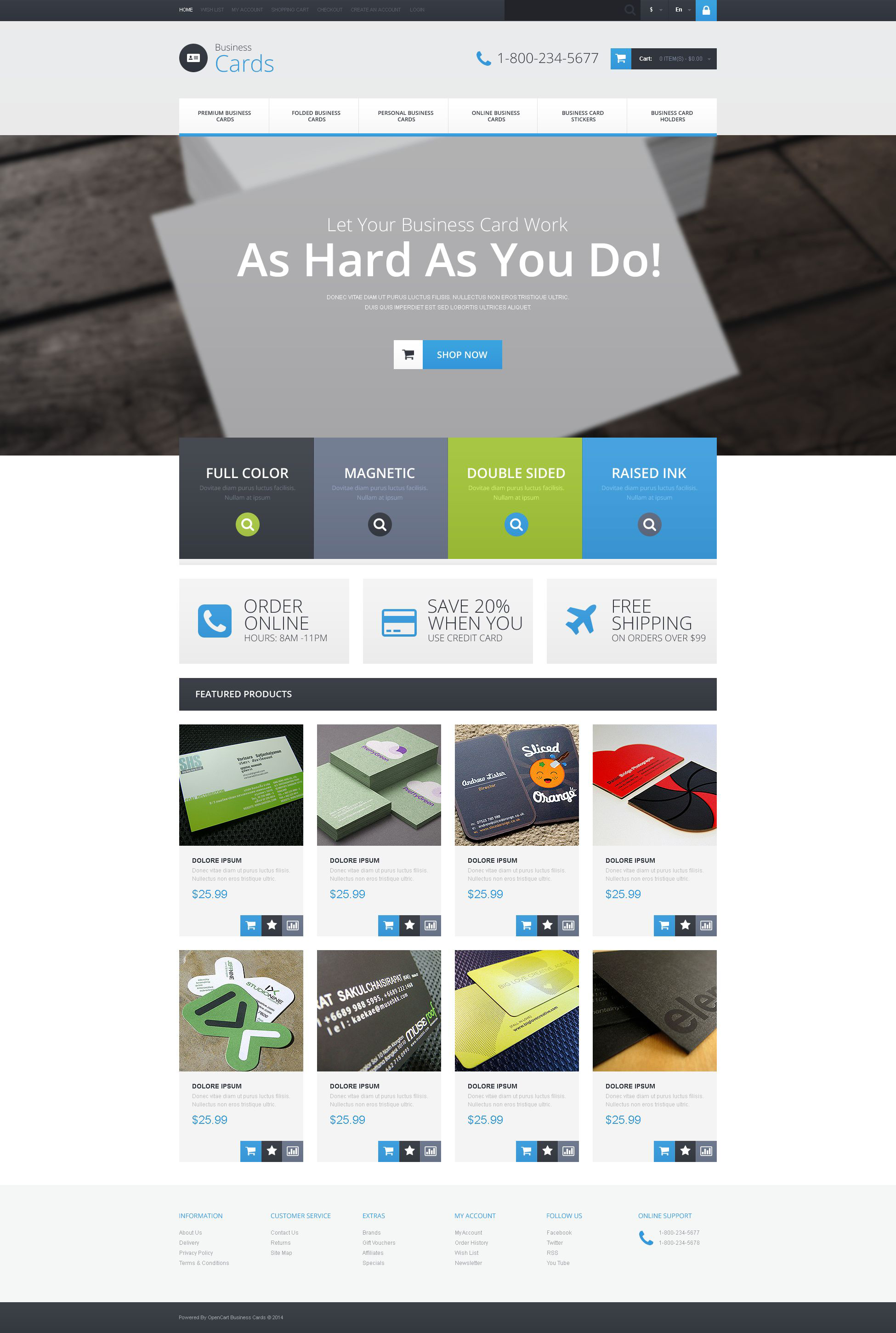 business card provider opencart template 52047
