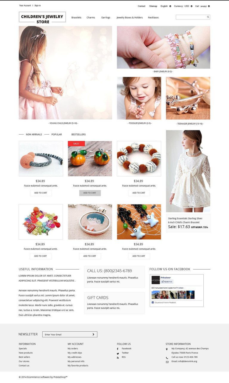 Children's Jewelry Store PrestaShop Theme New Screenshots BIG
