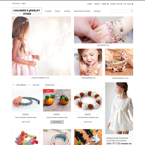 Children's Jewelry Store - PrestaShop Template based on Bootstrap