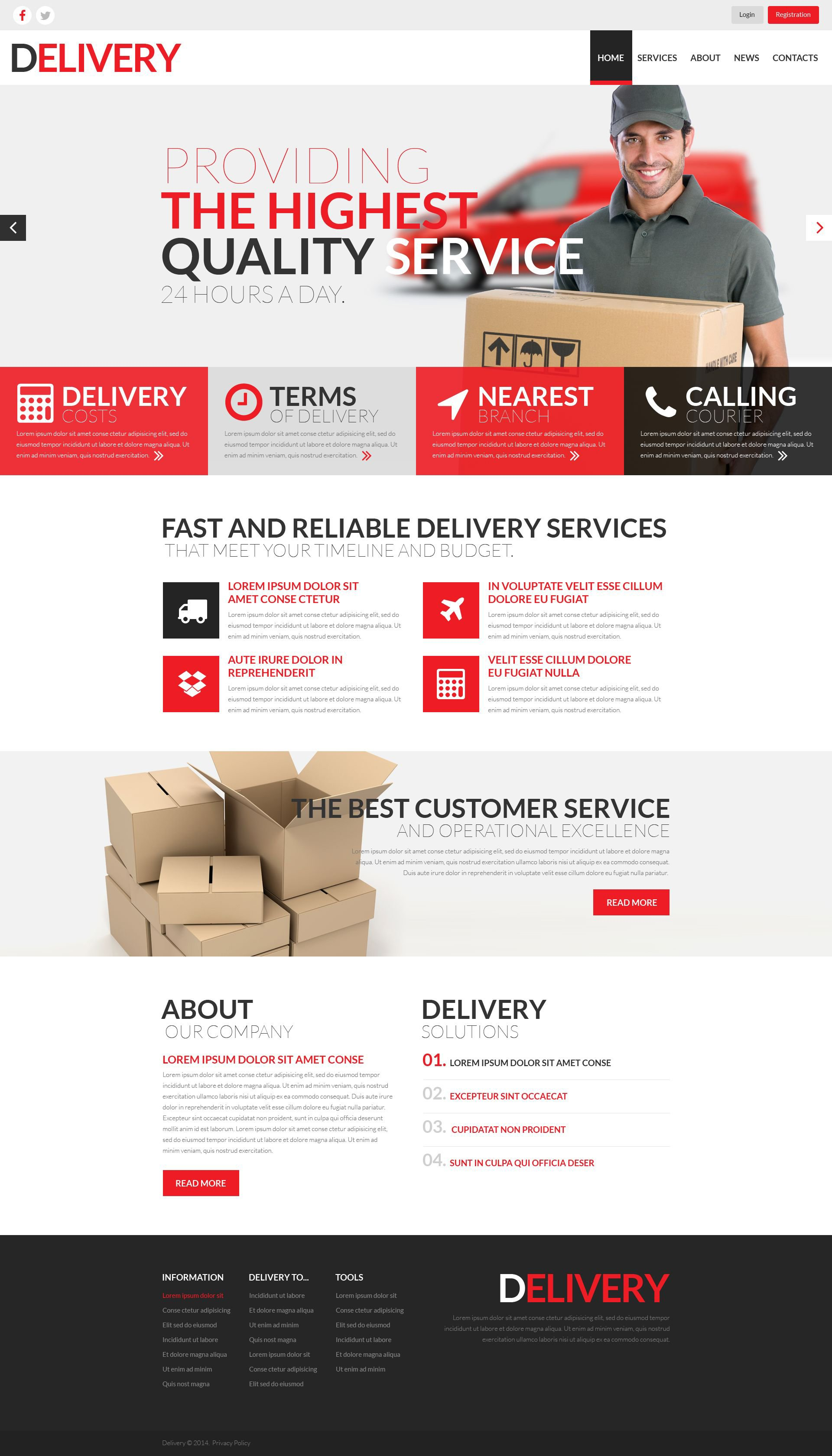 delivery services responsive website template 52000. Black Bedroom Furniture Sets. Home Design Ideas