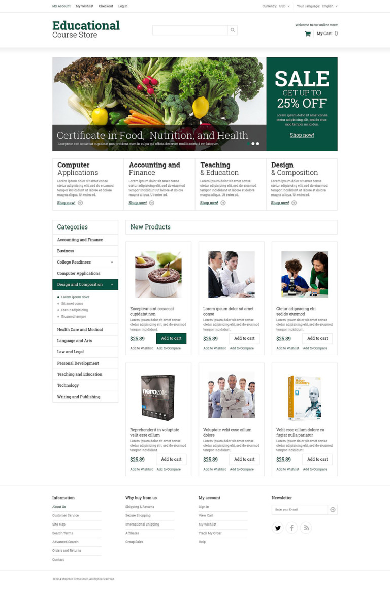Educational Courses Magento Theme New Screenshots BIG