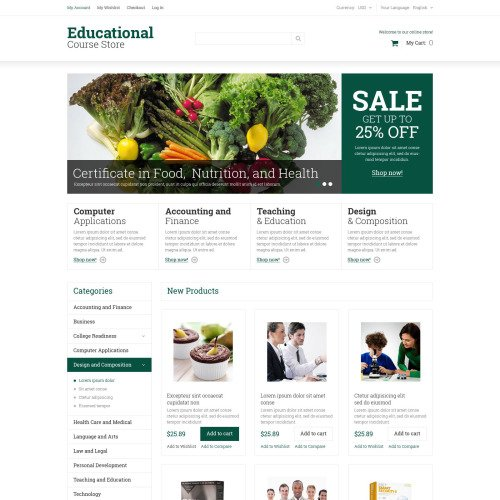 Educational Course Store - Responsive Magento Template