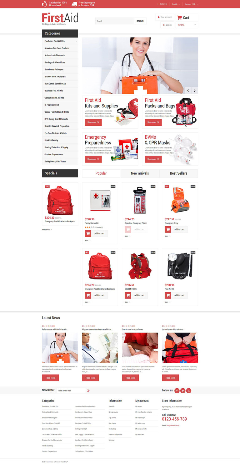 First Aid Store PrestaShop Theme New Screenshots BIG