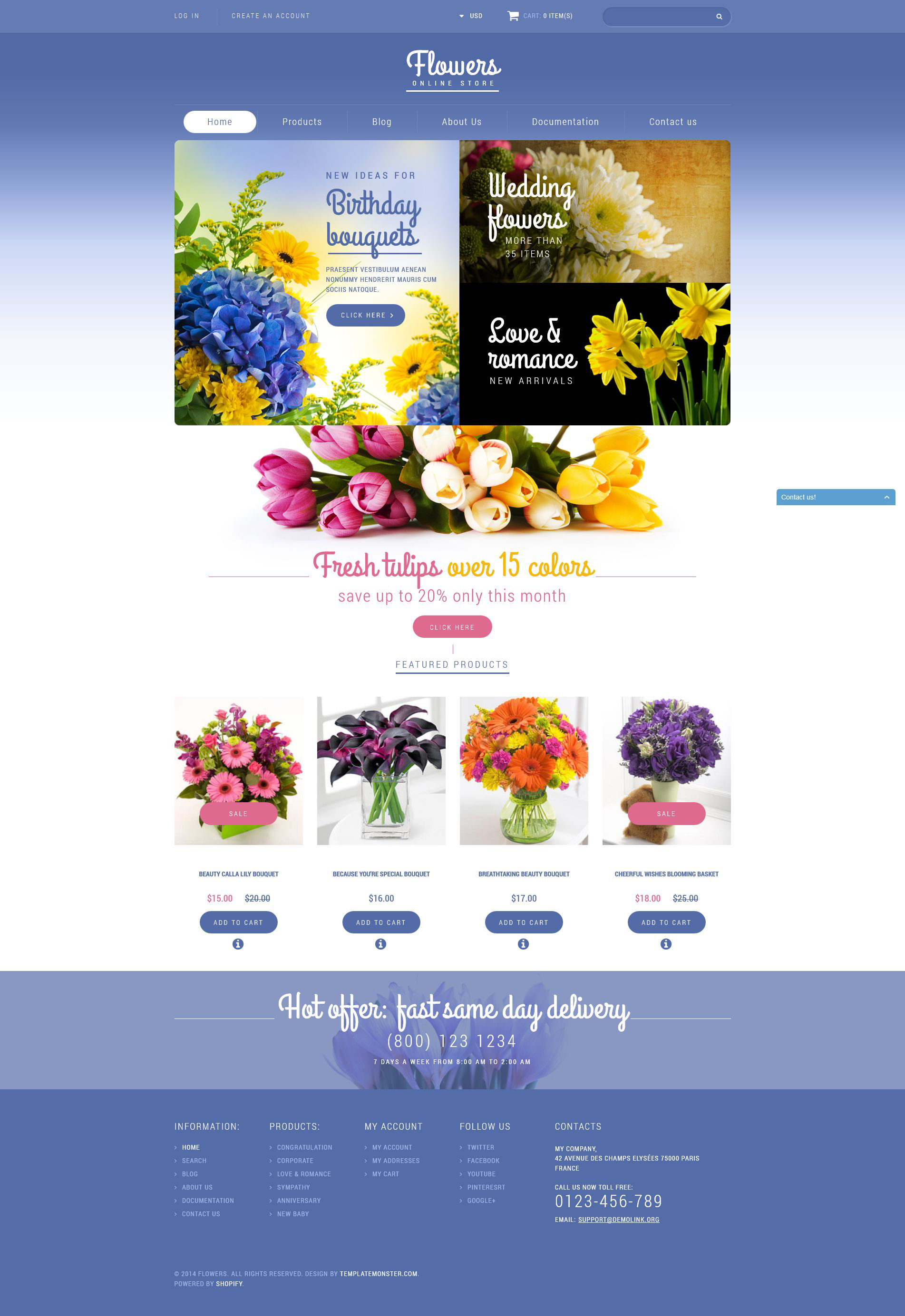 """Flowers Store"" - адаптивний Shopify шаблон №52090"