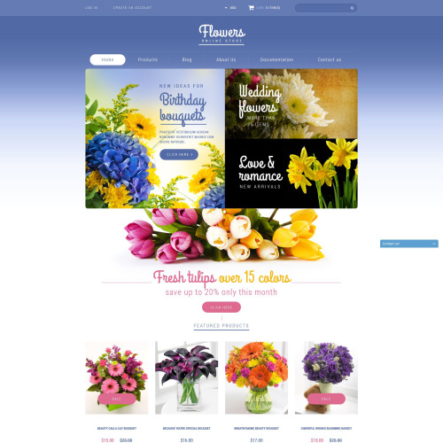 Flowers Online Store - Shopify Template based on Bootstrap