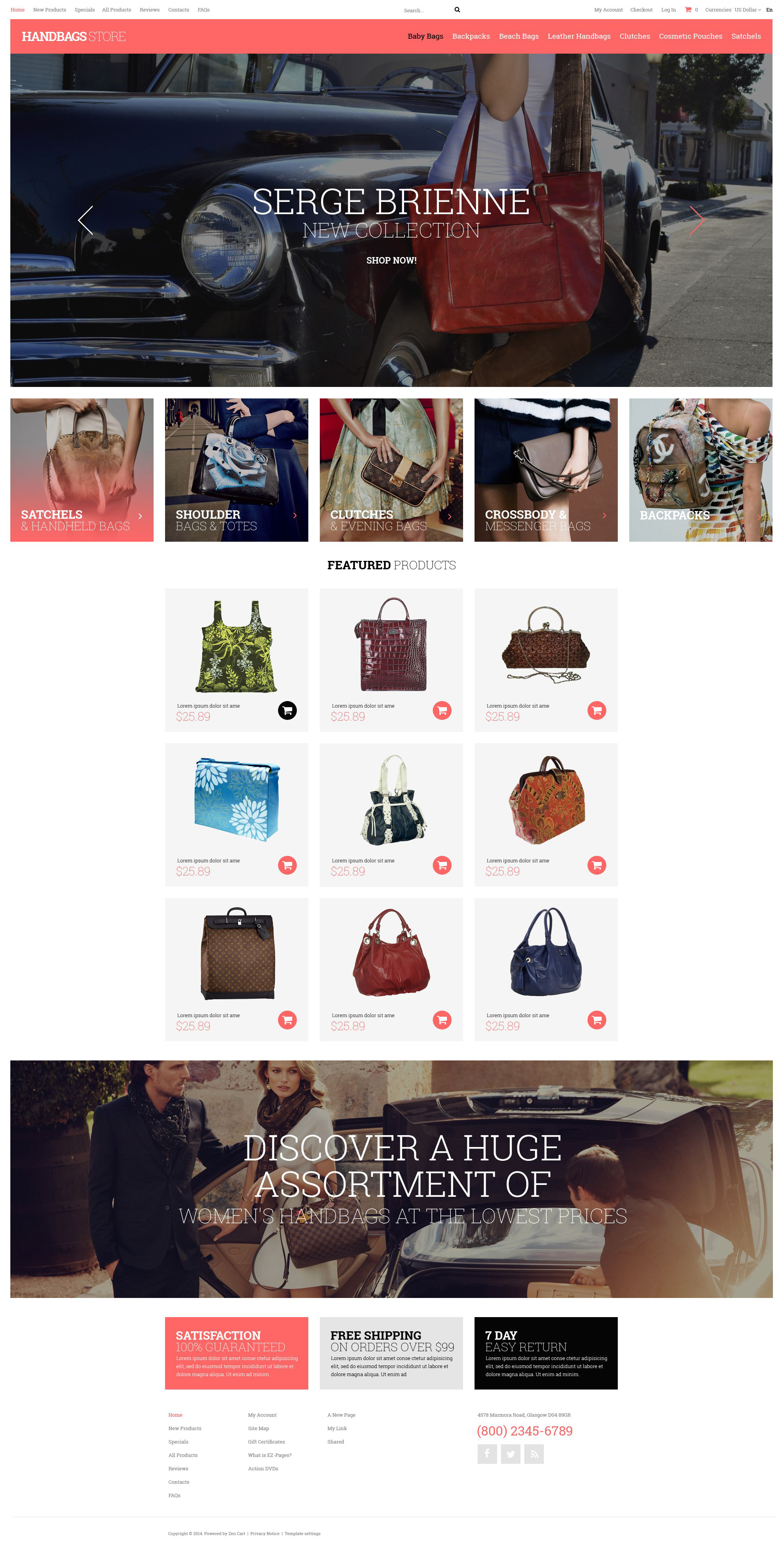 """Handbag Boutique"" ZenCart模板 #52035 - 截图"