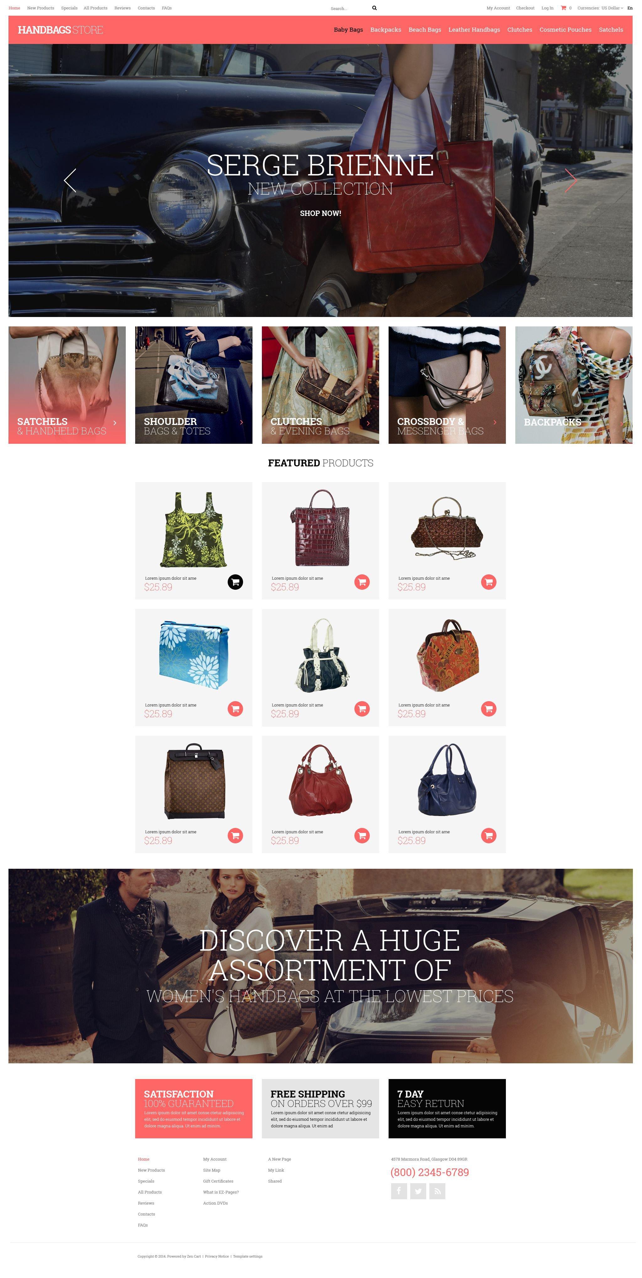 """""""Handbag Boutique"""" ZenCart template №52035 - screenshot"""