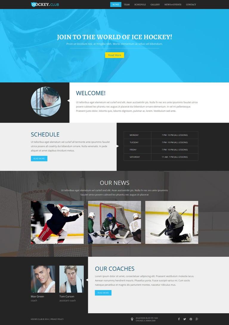 Hockey Responsive Joomla Template New Screenshots BIG