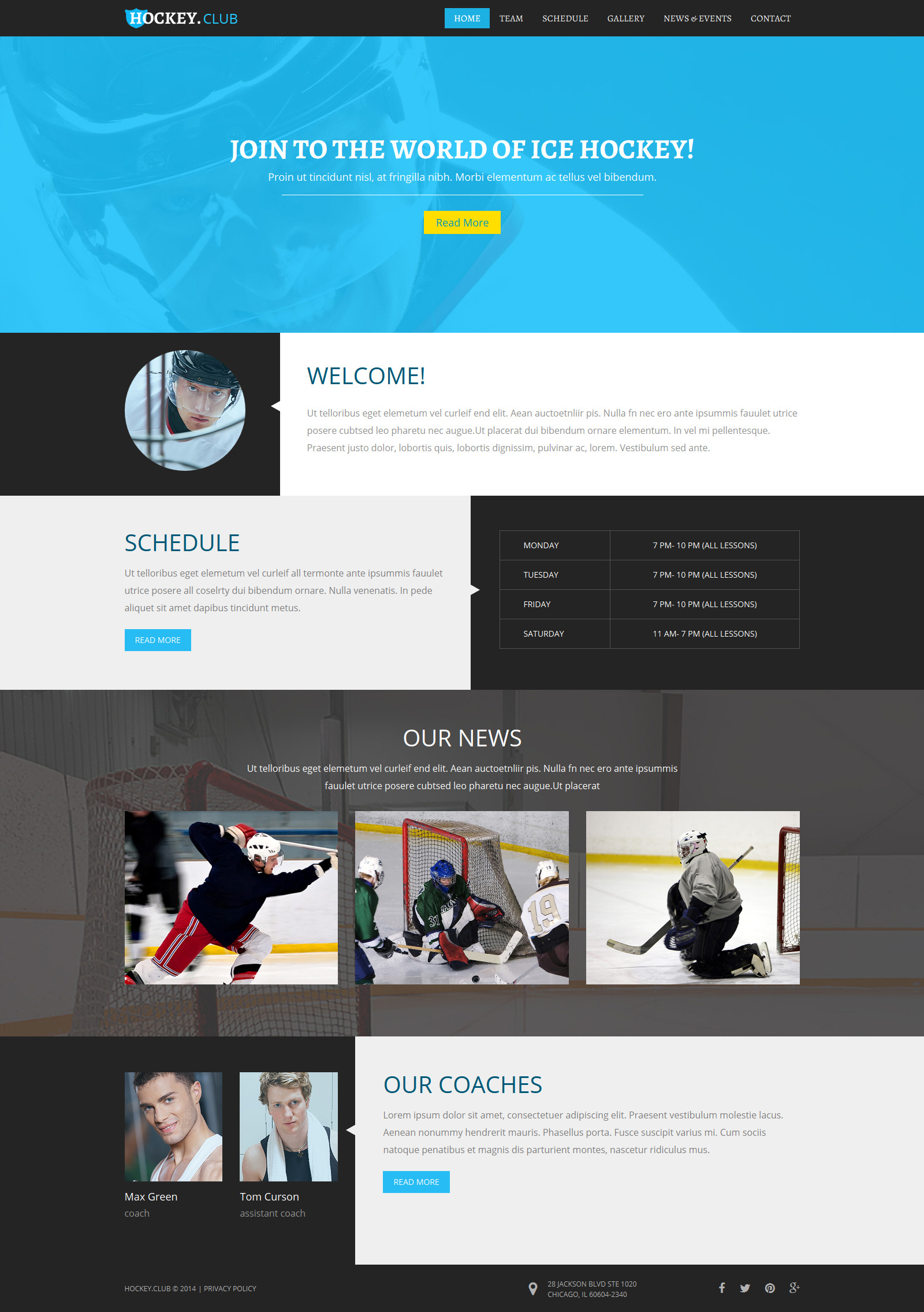 Hockey responsive joomla template 52028 for Jooma templates