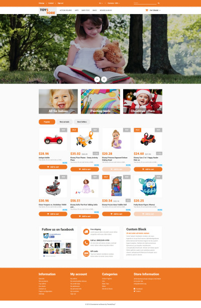 Thème PrestaShop adaptatif  pour magasin de jouets