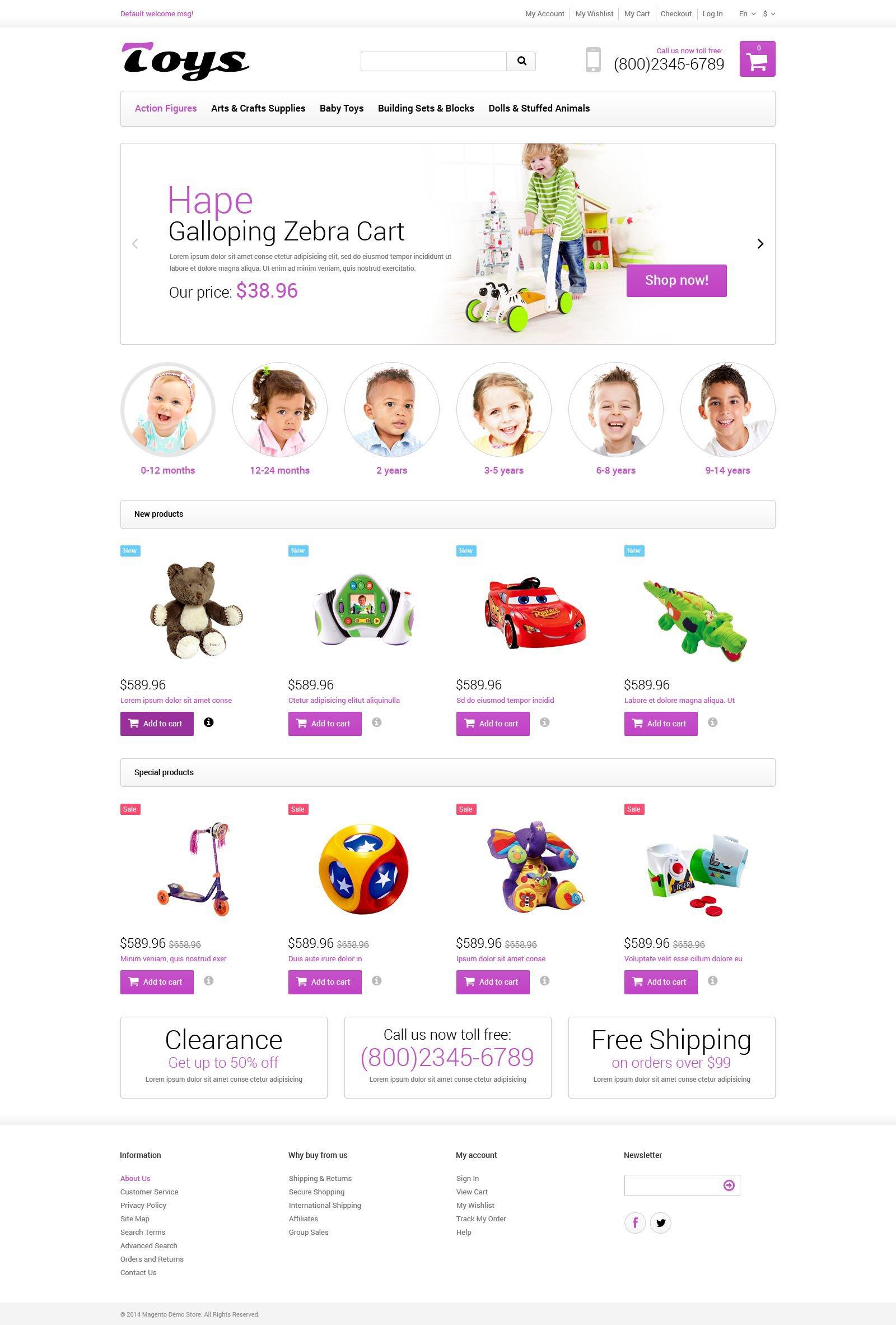 Magento тема детские игрушки №52023 - скриншот