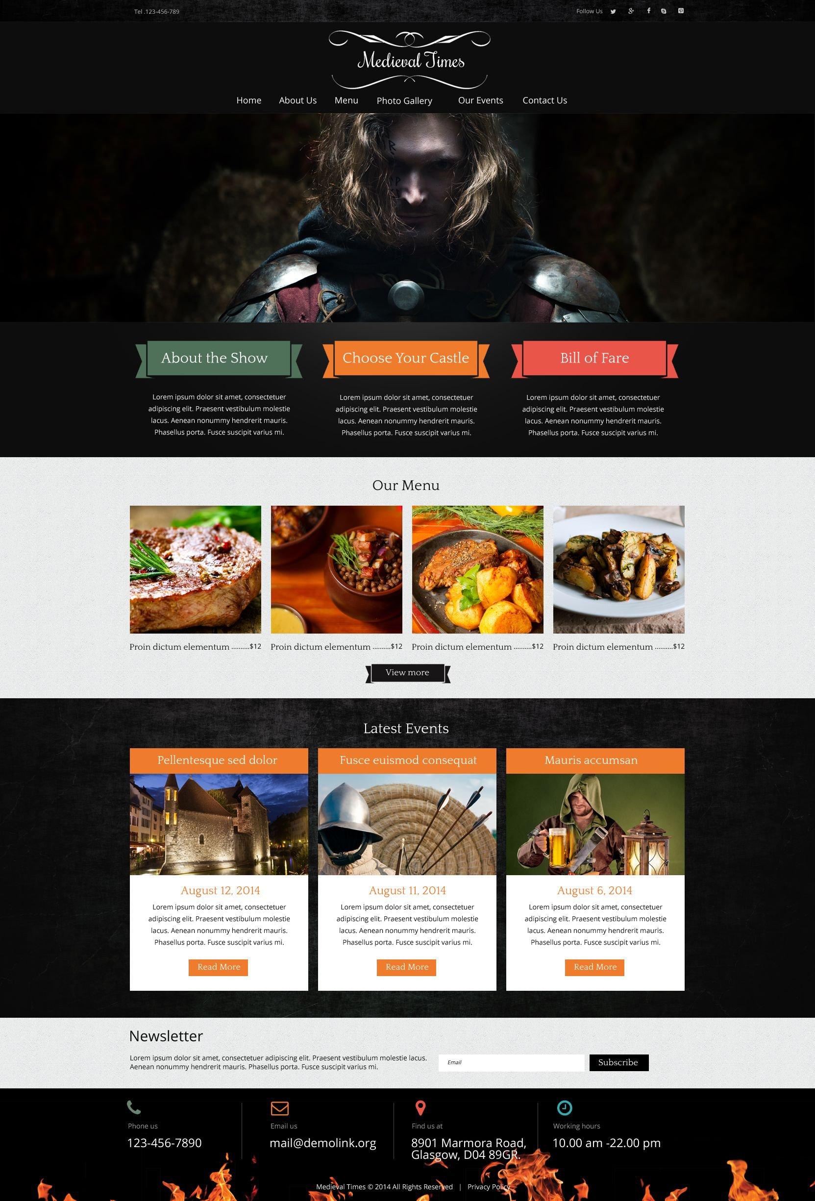 Medieval Restaurant Joomla Template - Photo contest website template