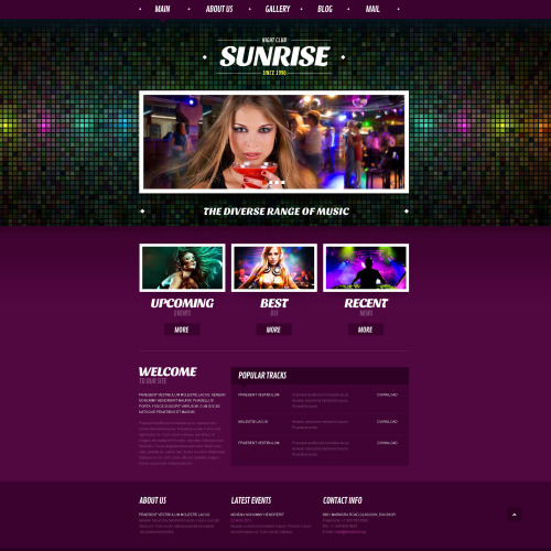 Night Club Sunrise - Responsive Joomla! Template