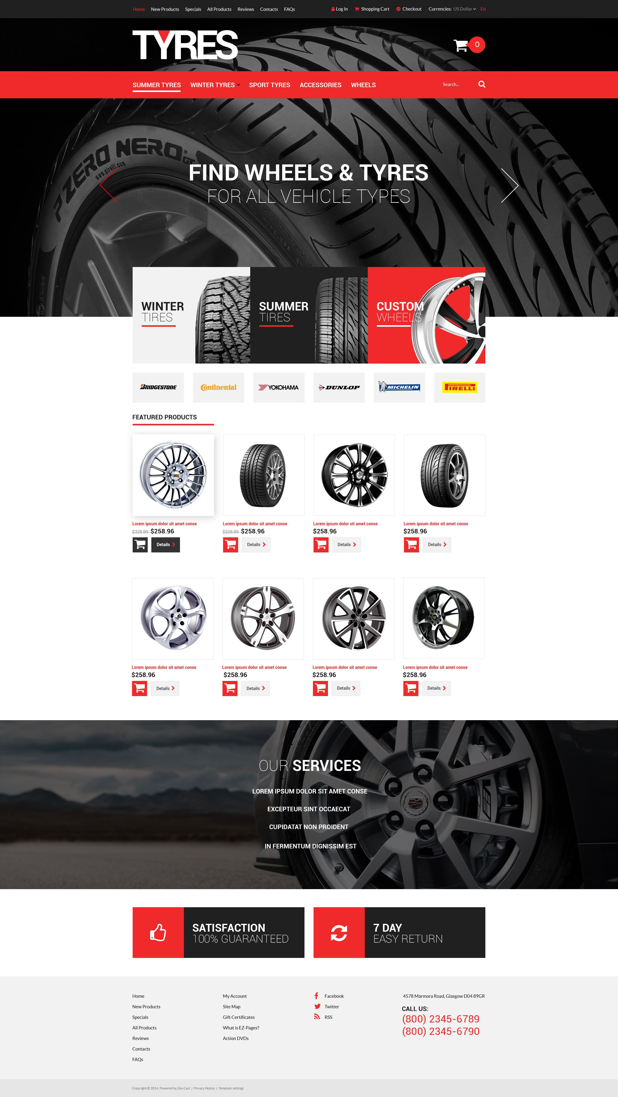 """Online Tires Sales"" - ZenCart шаблон №52080"