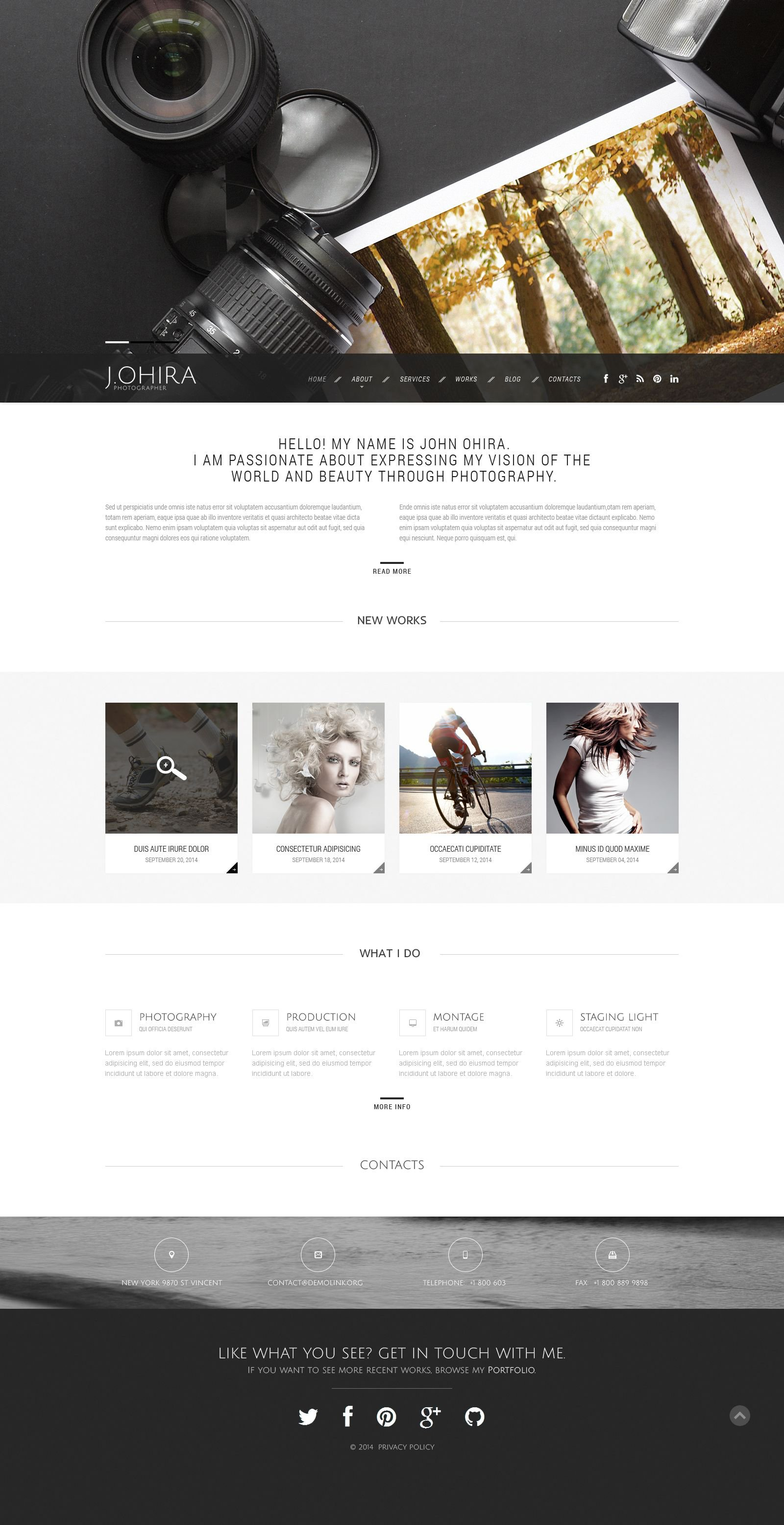 Photographer Portfolio Responsive Website Template - screenshot