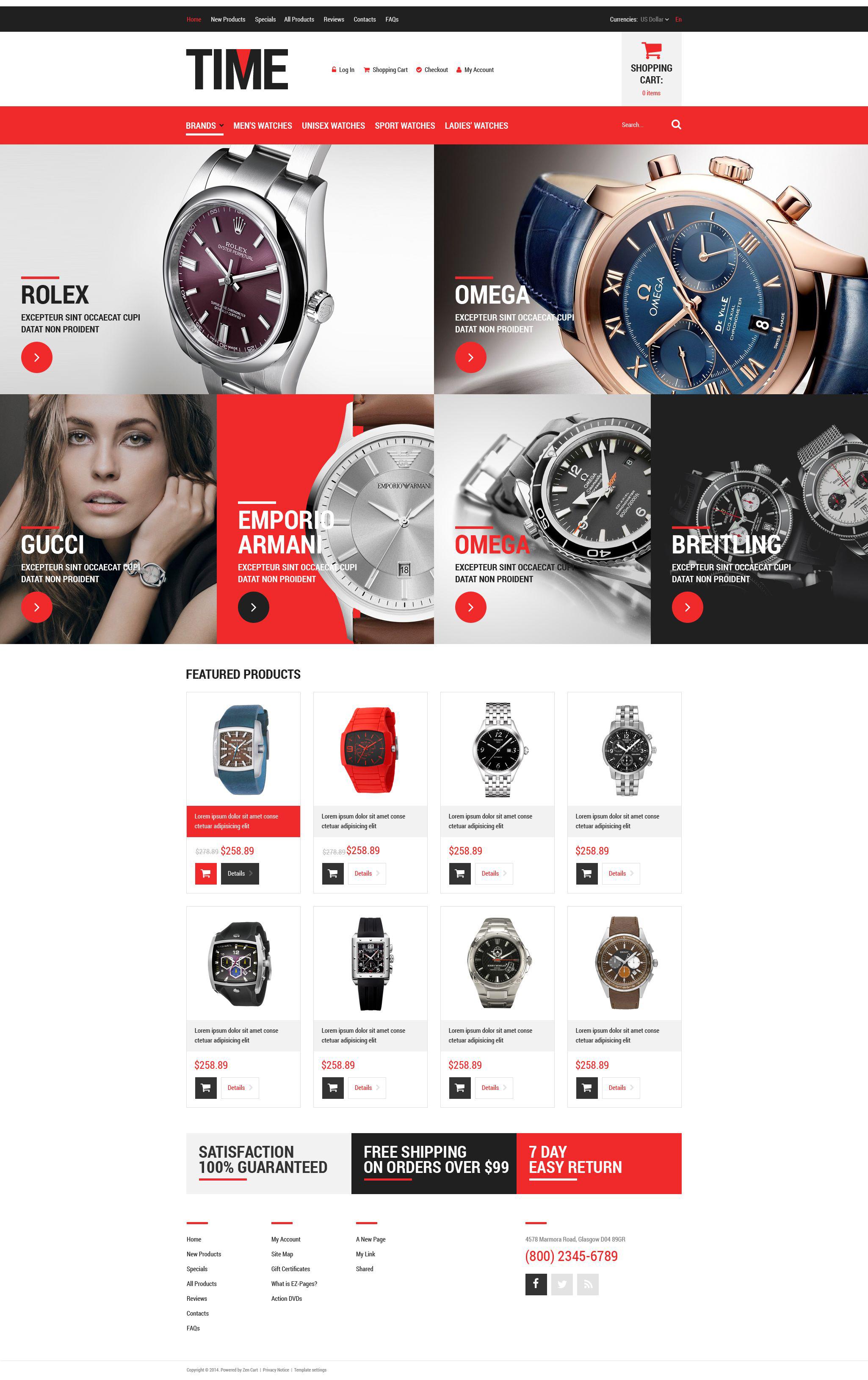 "Plantilla ZenCart ""Relojes de lujo"" #52081"