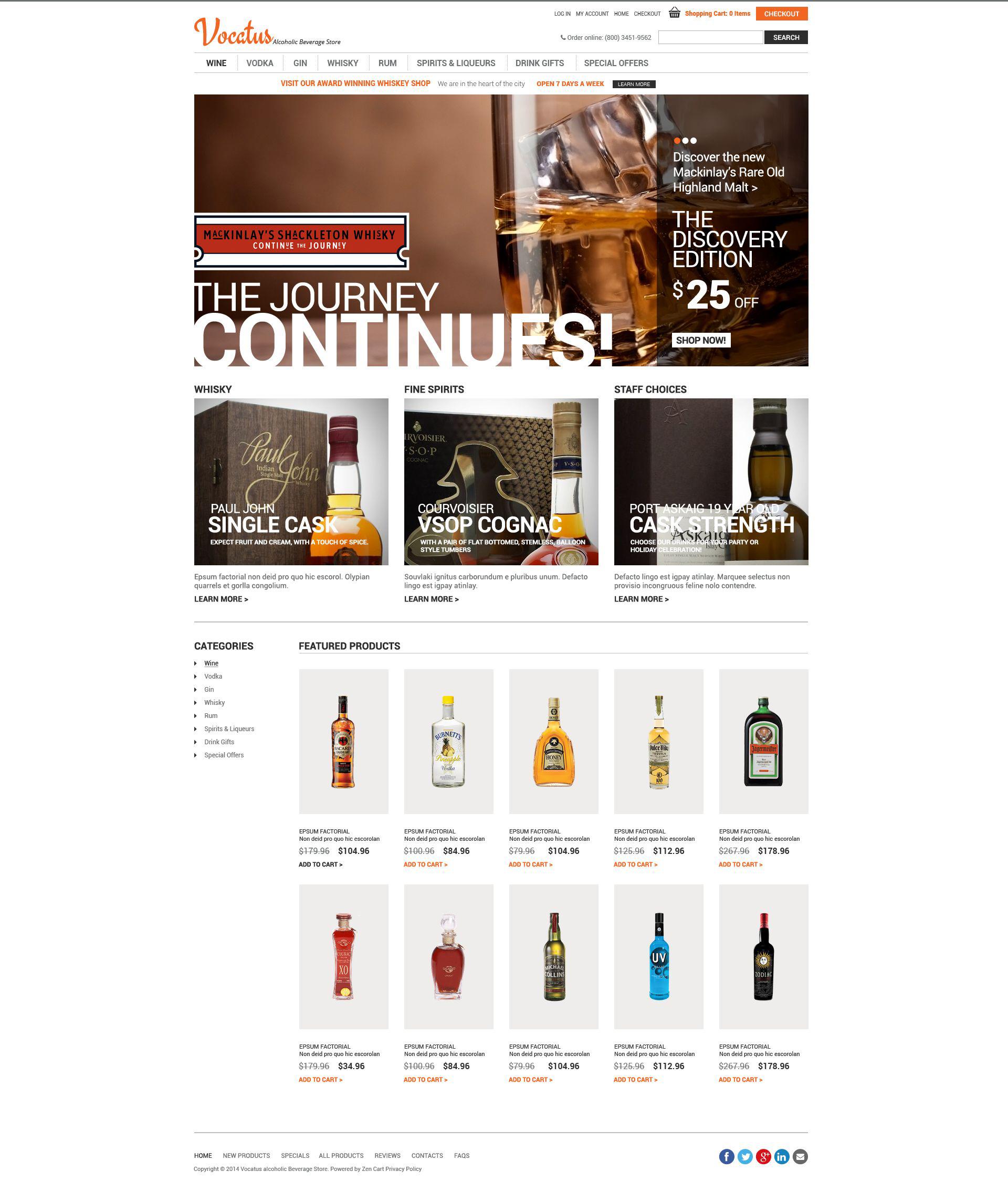 Quality Alcohol Template ZenCart №52082