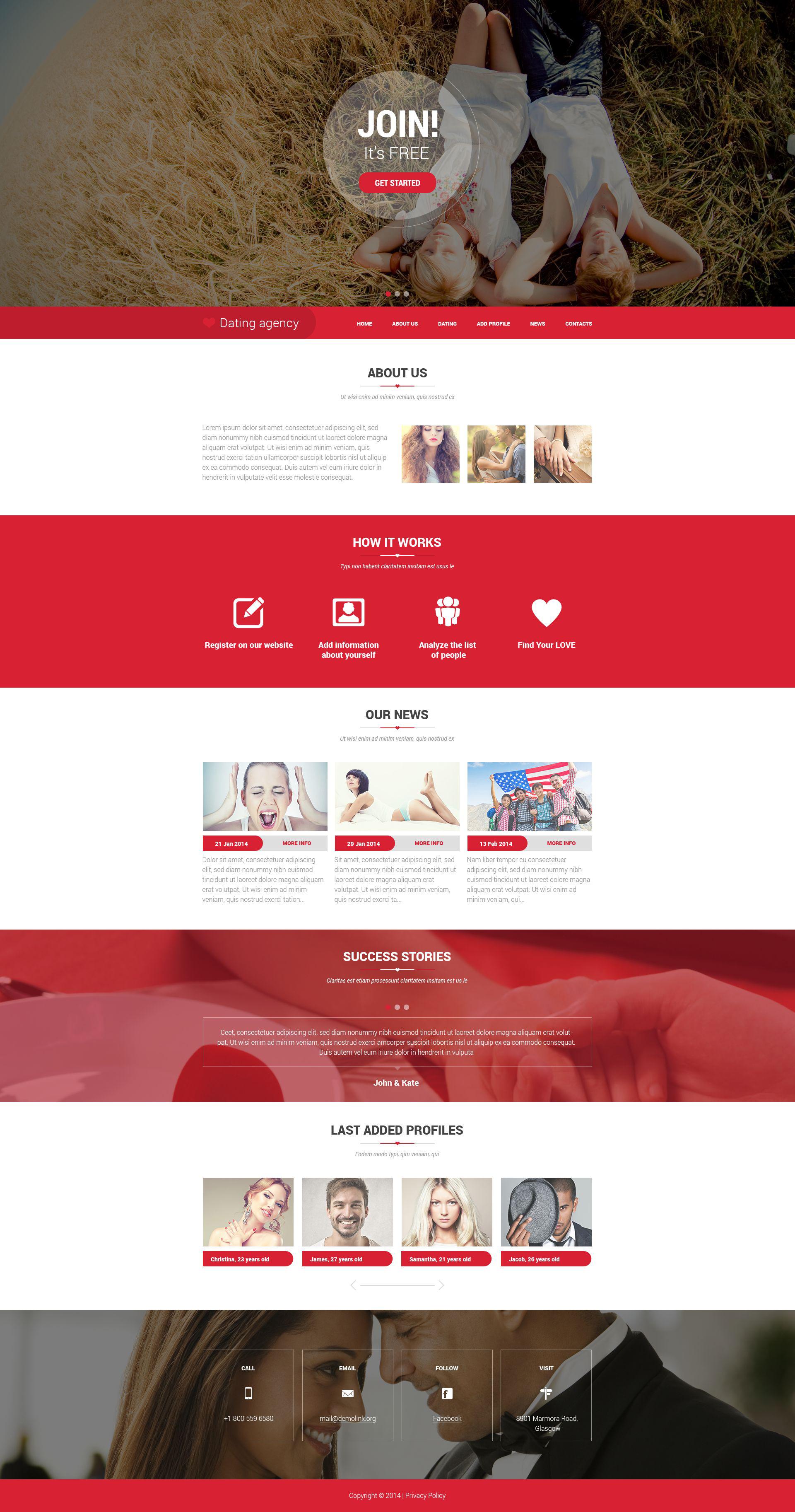 Responsive Website Vorlage für Partnersuche #52008