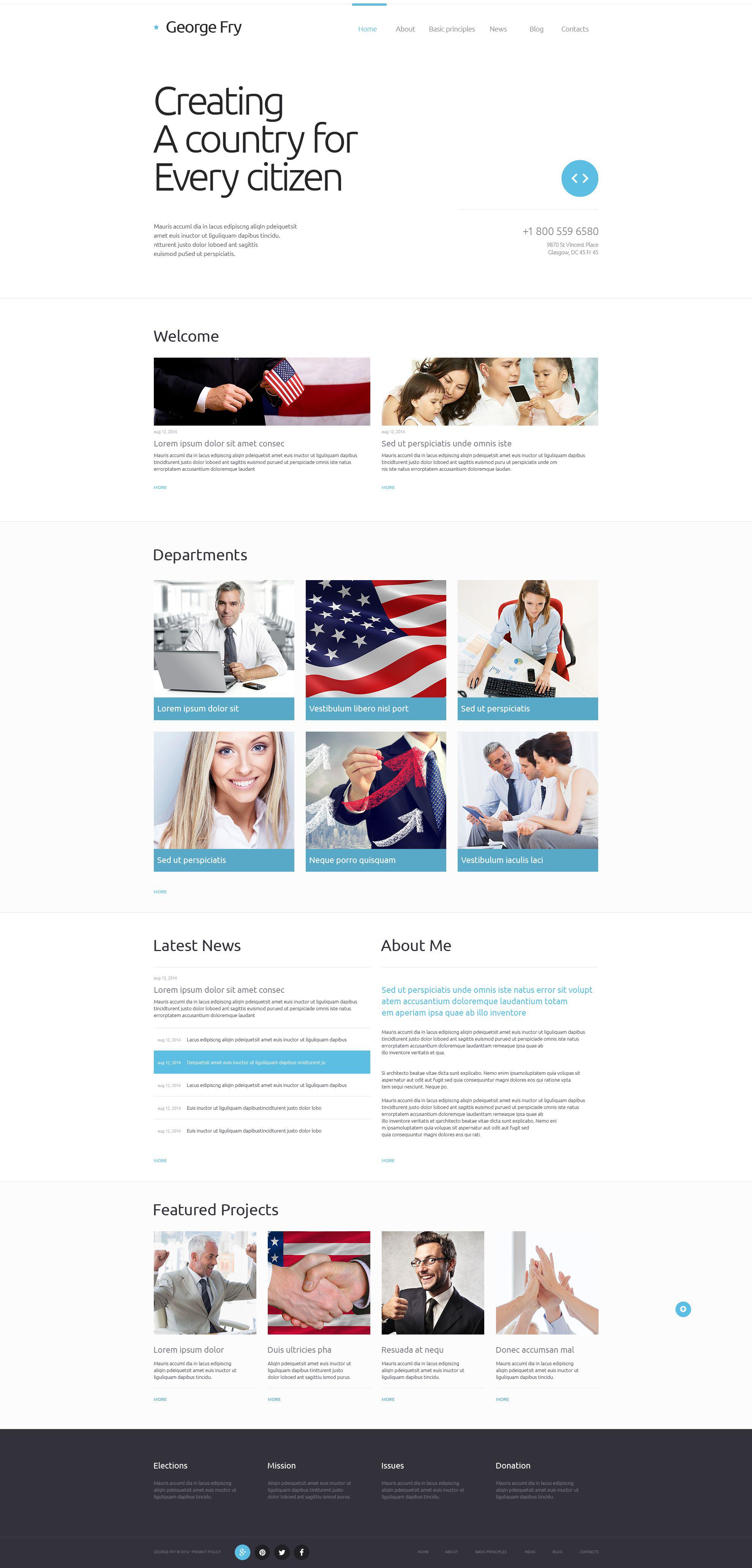 Responsive Website Vorlage für Politischer Kandidat #52095