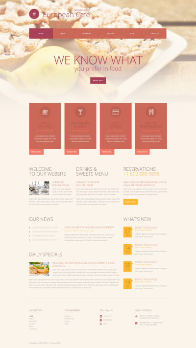European Restaurant Responsive WordPress Thema