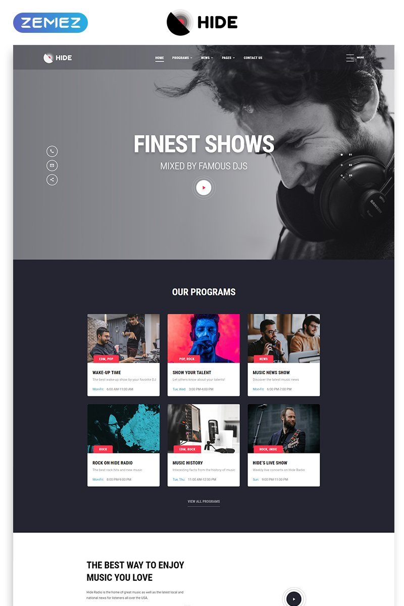 Responsywny szablon strony www HIDE - Online Radio Multipage Creative HTML #52094