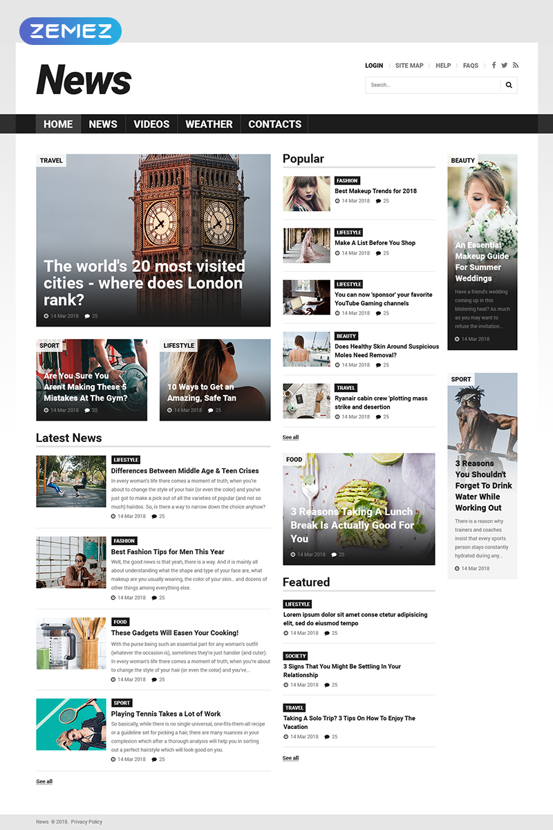 Responzivní Joomla šablona na téma Zpravodajský portál #52025