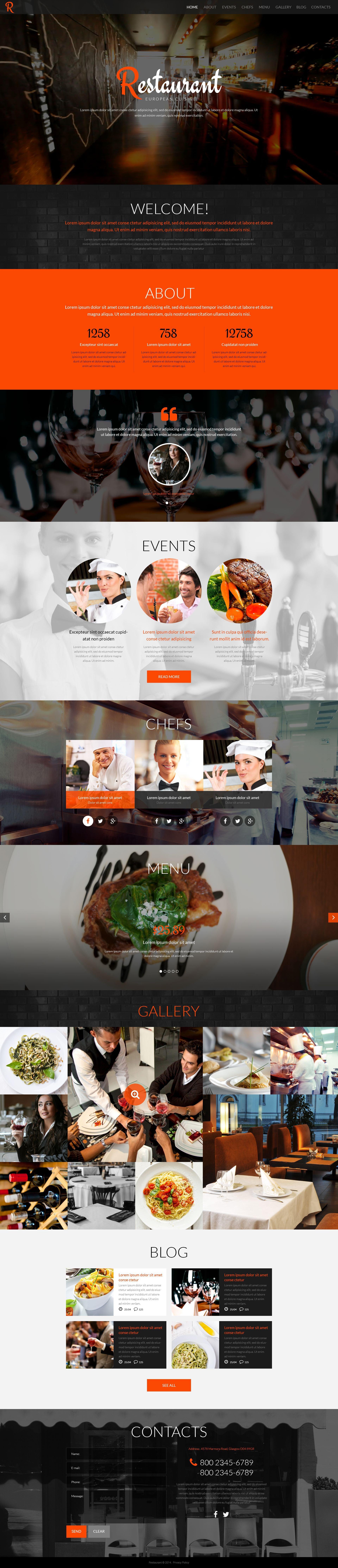 """Restaurant"" thème WordPress adaptatif #52083"