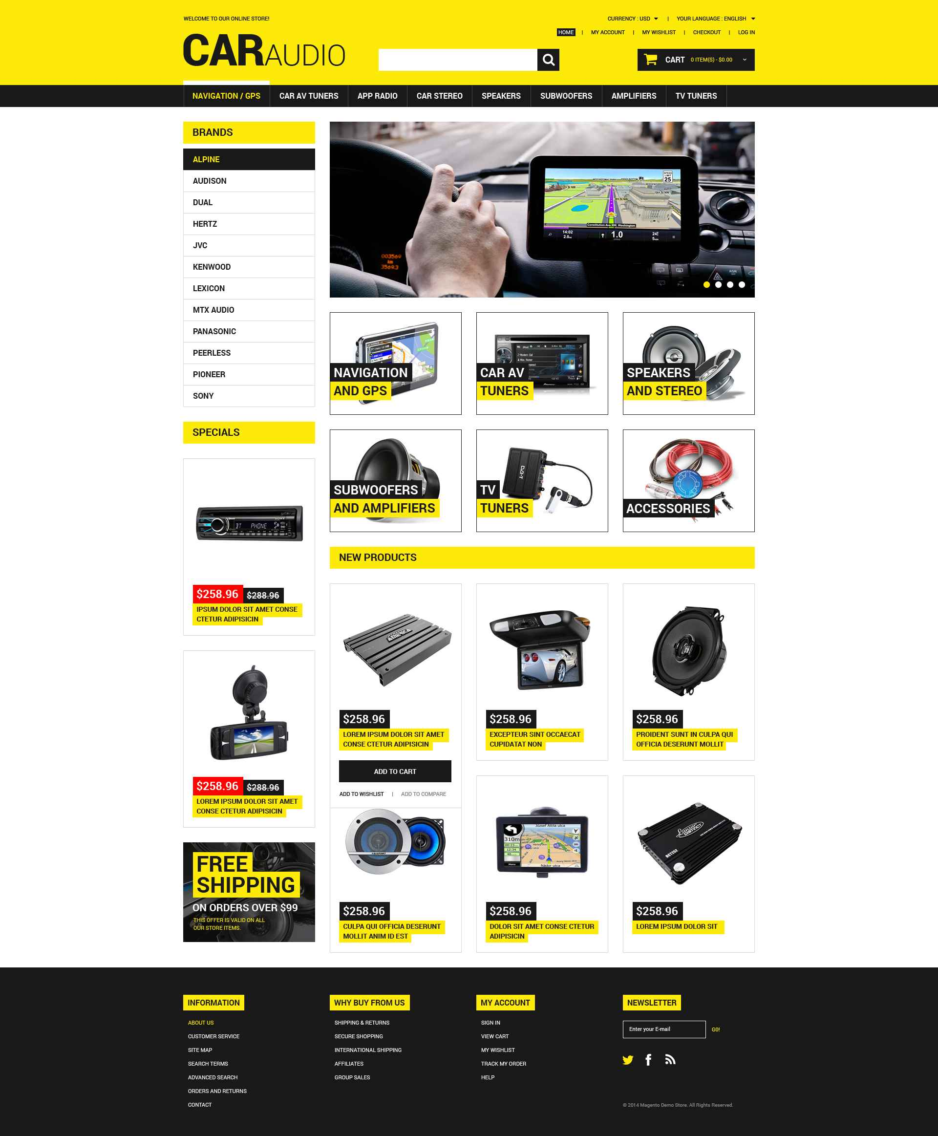 Reszponzív Car Audio  Video Magento sablon 52061