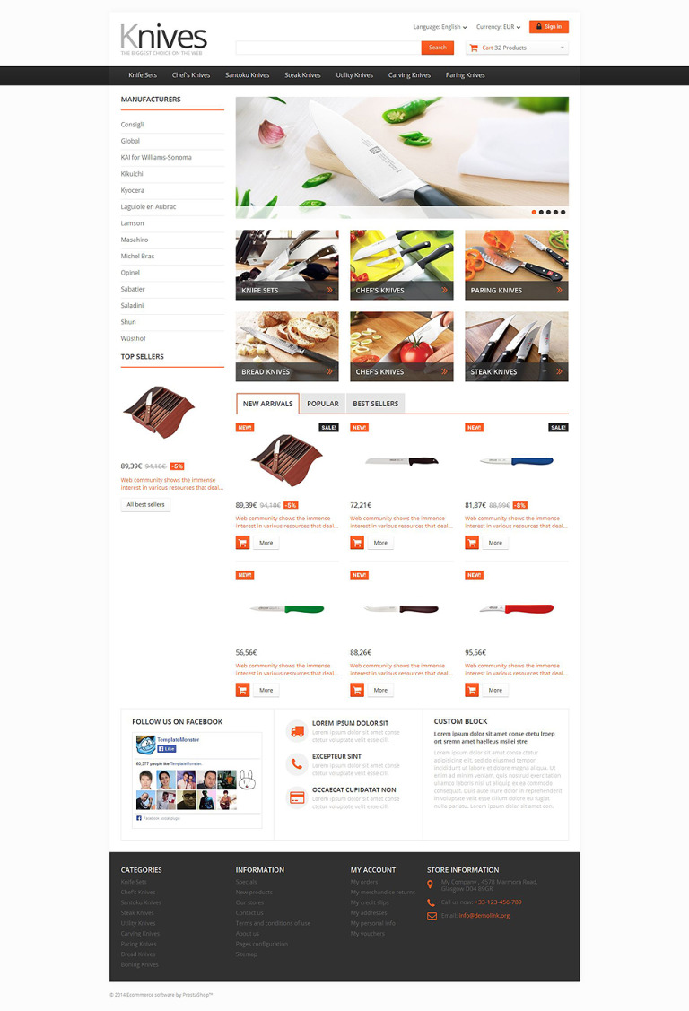 Selling Knives PrestaShop Theme New Screenshots BIG