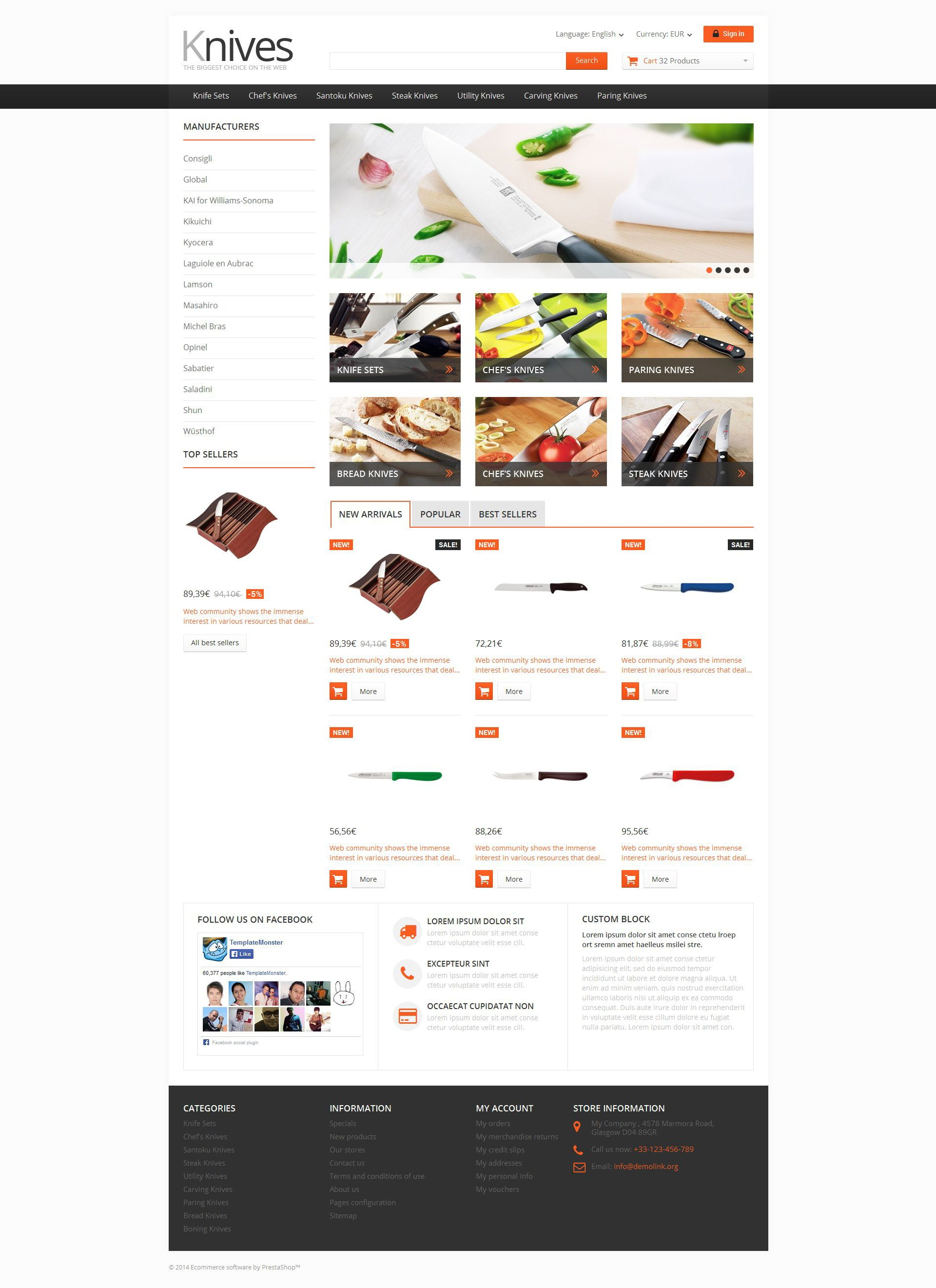 Selling Knives PrestaShop Theme