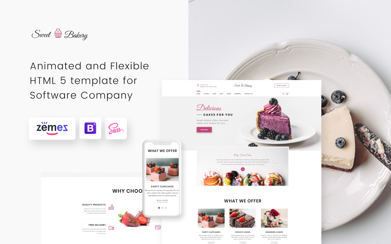 """Sweet Bakery - Cake Shop Elegant Multipage HTML"" modèle web Bootstrap #52072"