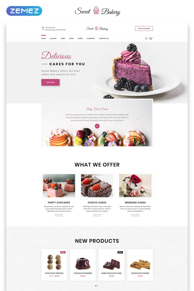 Sweet Bakery - Cake Shop Elegant Multipage HTML Website Template - screenshot