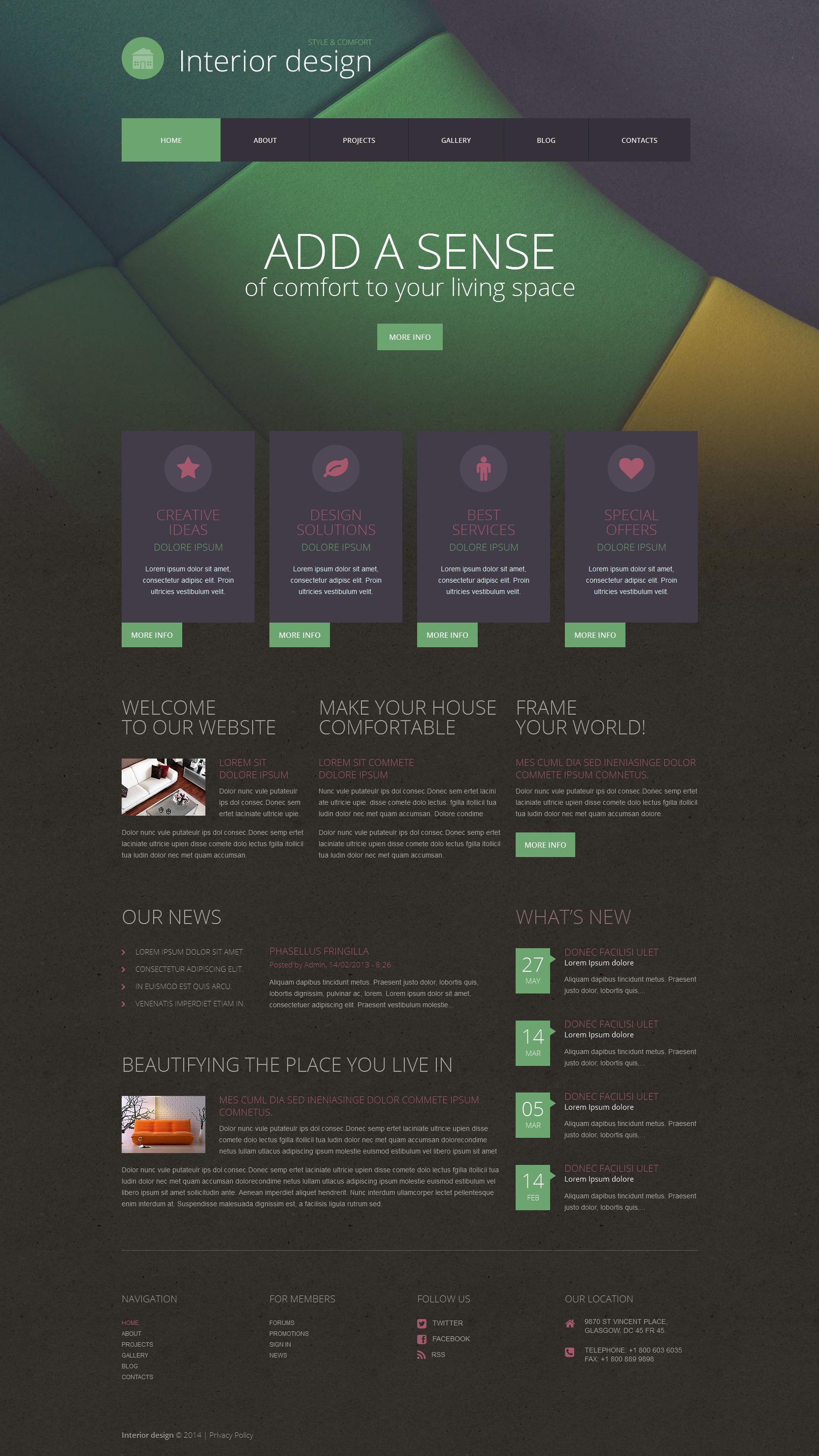 Tema WordPress Flexível para Sites de Design Interior №52064 - captura de tela
