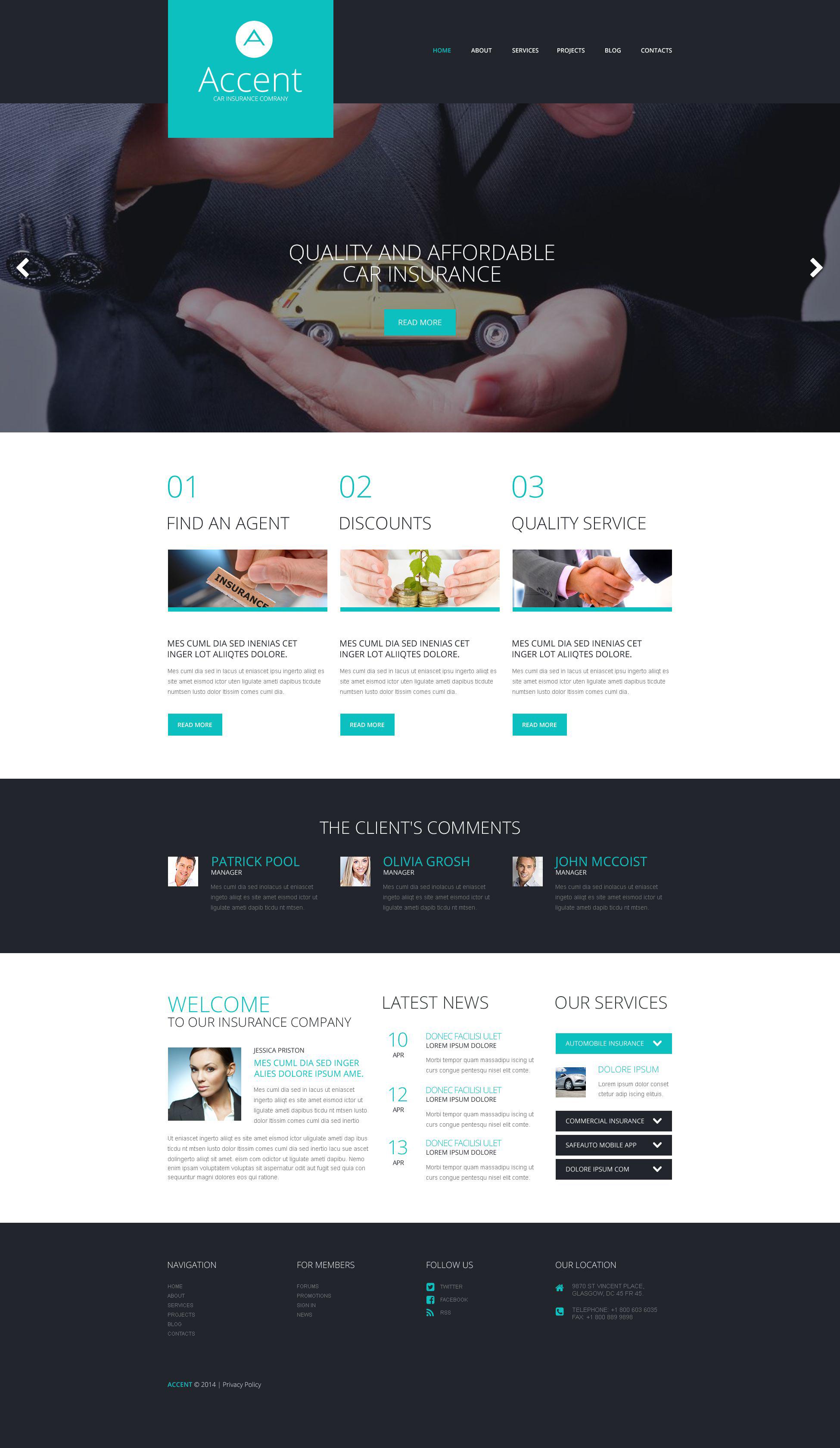 Thème WordPress adaptatif pour site de société d'assurance #52050