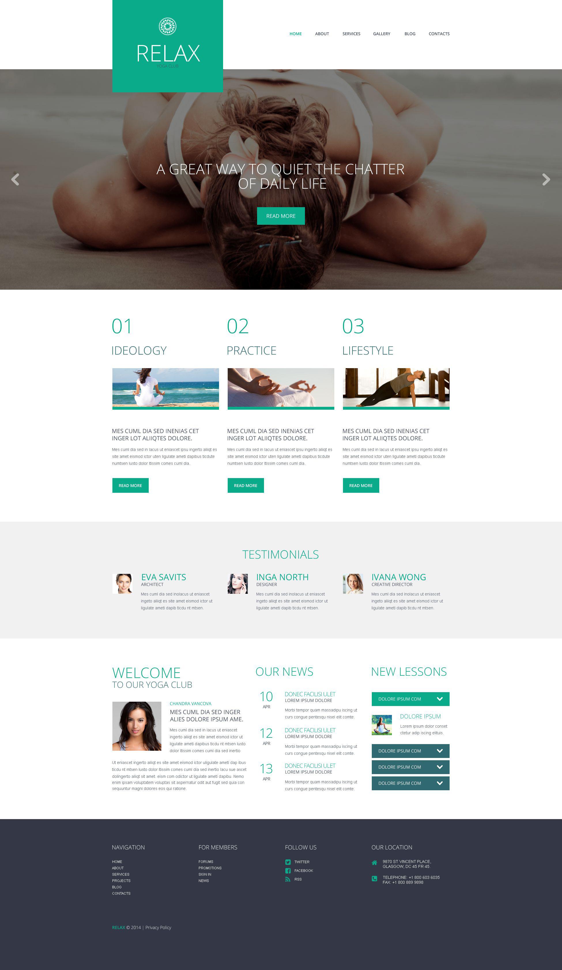 Thème WordPress adaptatif pour site de yoga #52053