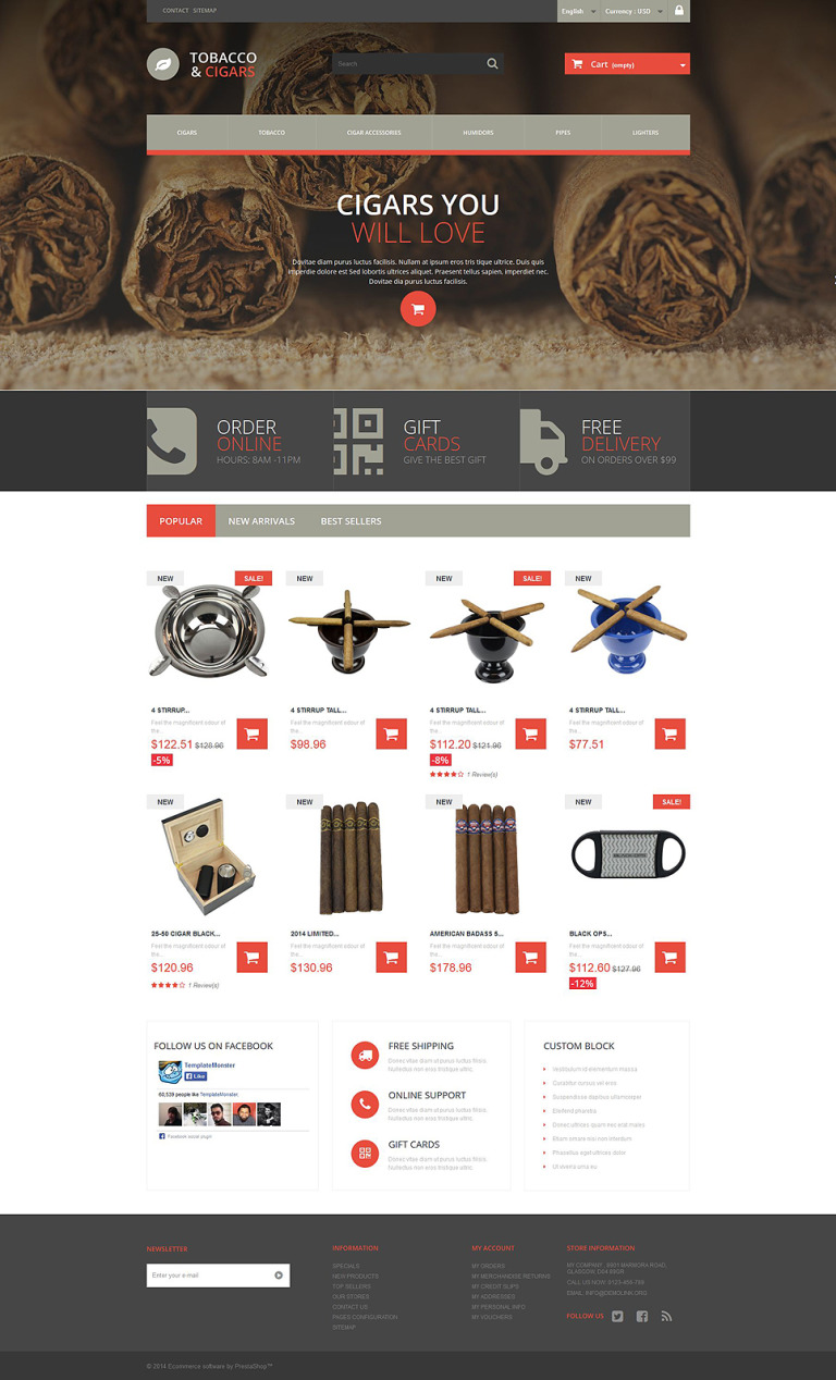 Tobacco and Cigars PrestaShop Theme New Screenshots BIG