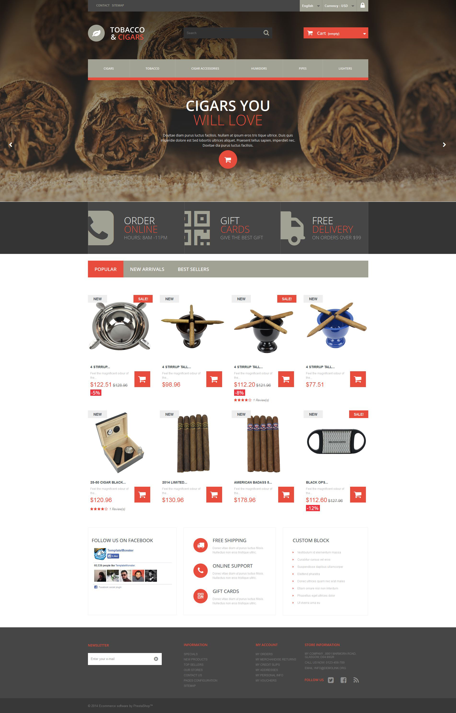 Tobacco and Cigars PrestaShop Theme