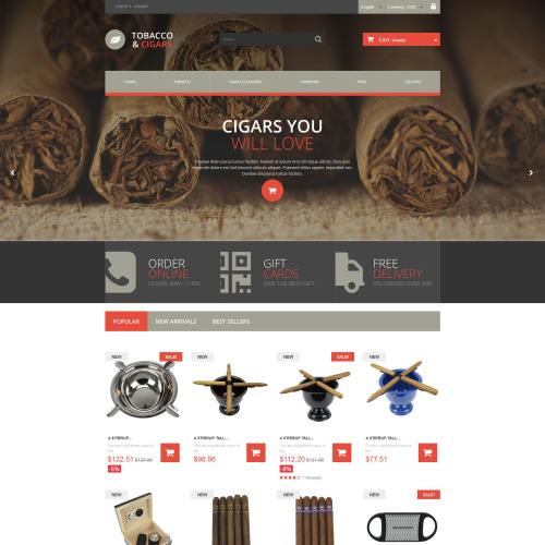 Tobacco & Cigars - PrestaShop Template based on Bootstrap