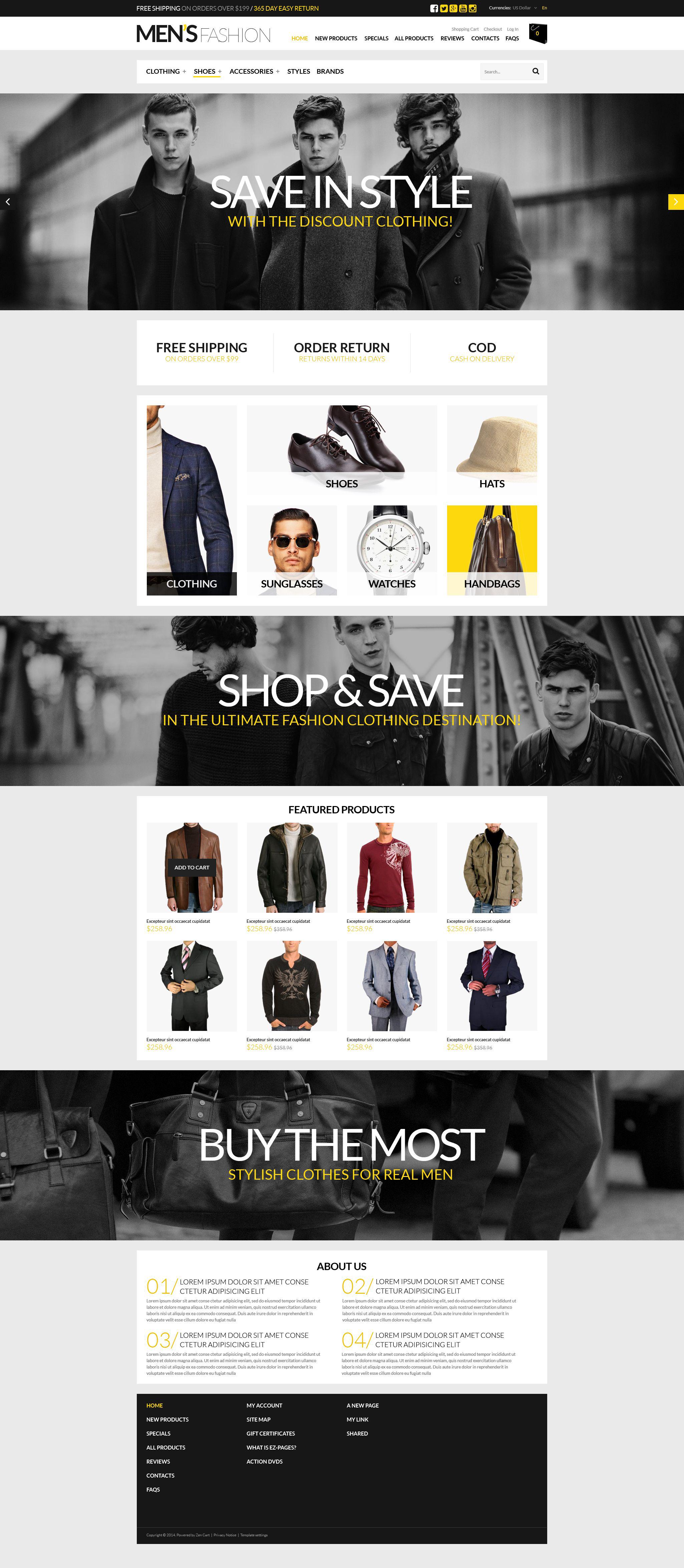 Ultimate Mens Shopping Spot ZenCart Template - screenshot