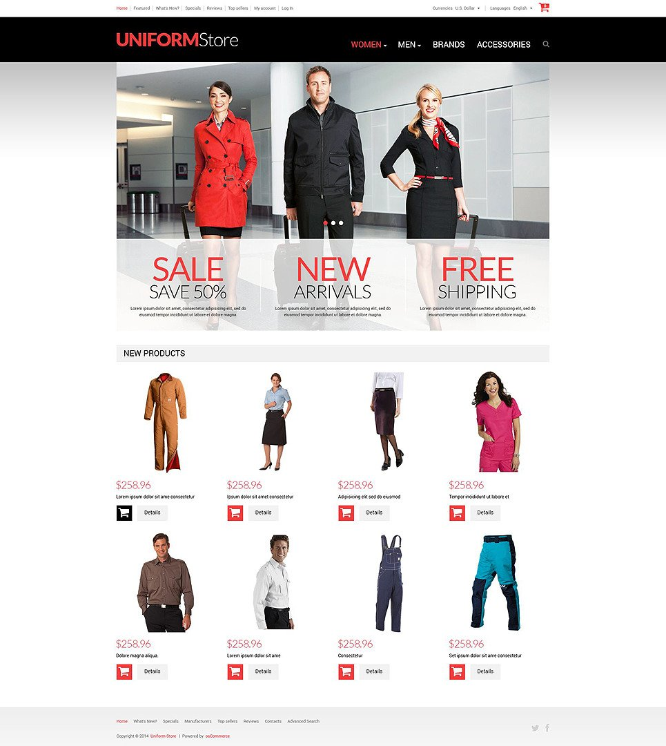 Uniform Store OsCommerce Template New Screenshots BIG