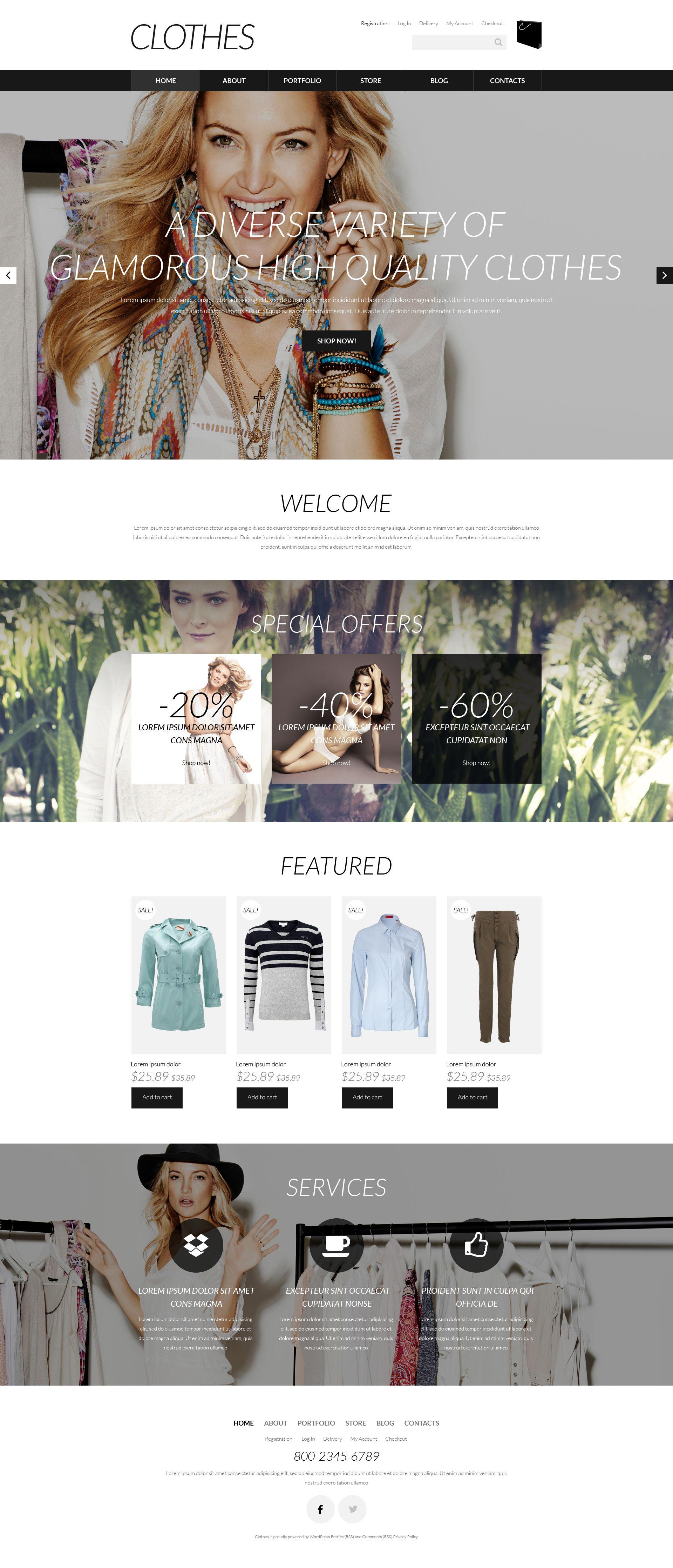 """""""Vêtements de marque"""" thème WooCommerce adaptatif #52066"""