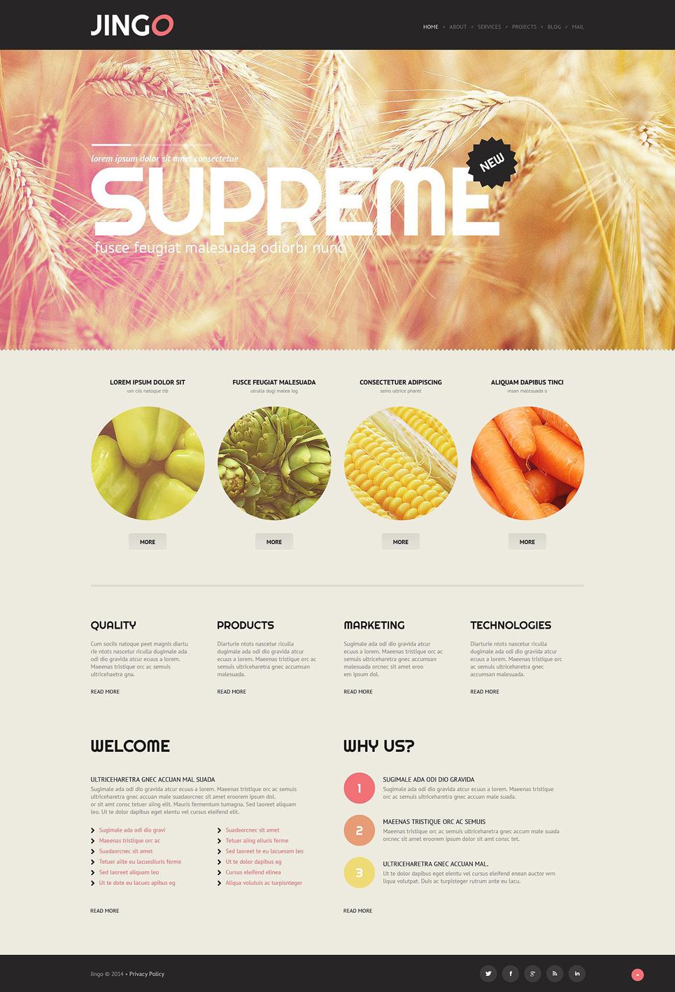 Шаблон сайта на тему сельское хозяйство #52086
